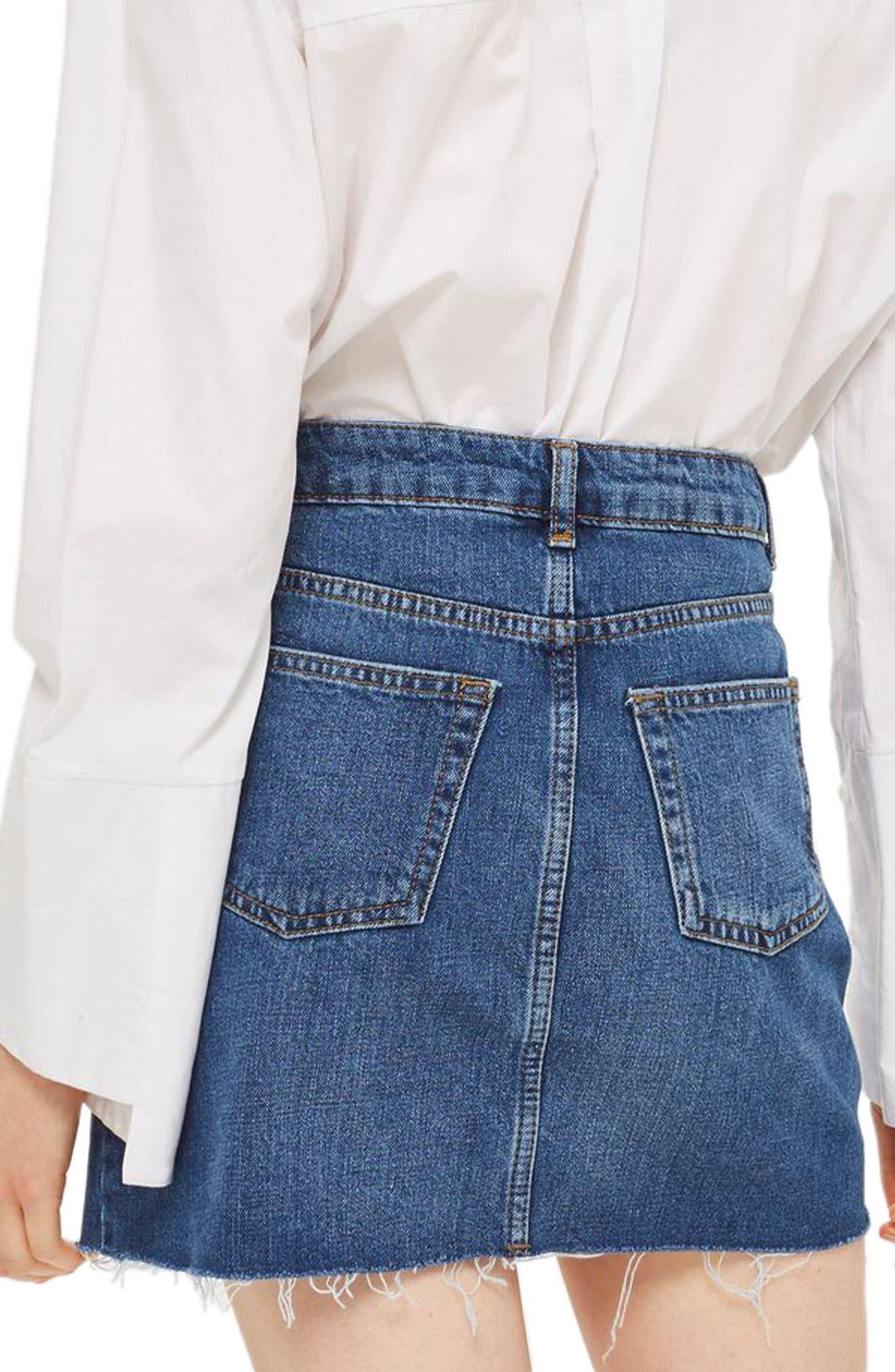 Frayed Hem Denim Miniskirt,                             Alternate thumbnail 2, color,                             Mid Denim