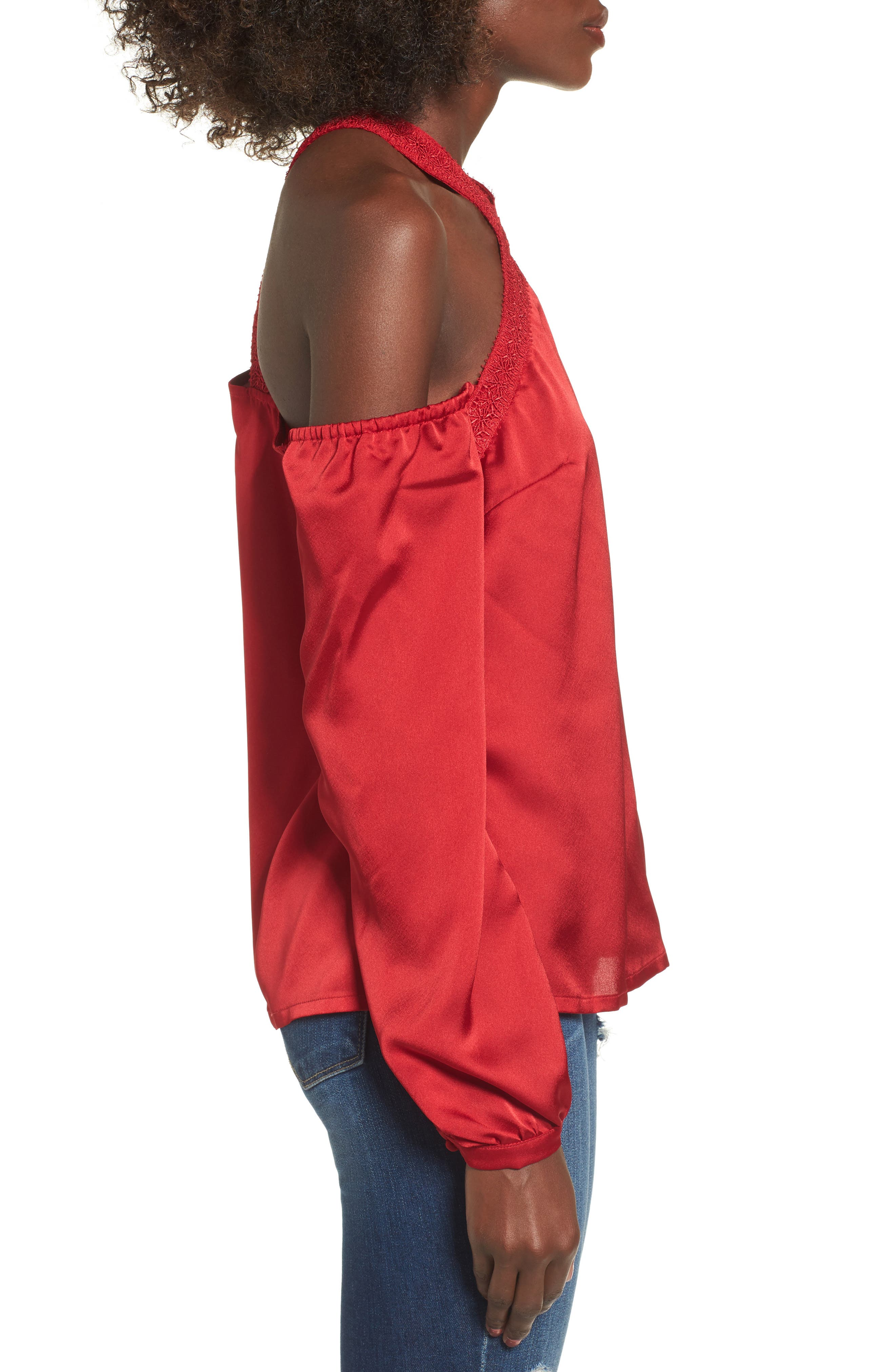 Evening Sun Cold Shoulder Blouse,                             Alternate thumbnail 3, color,                             Red