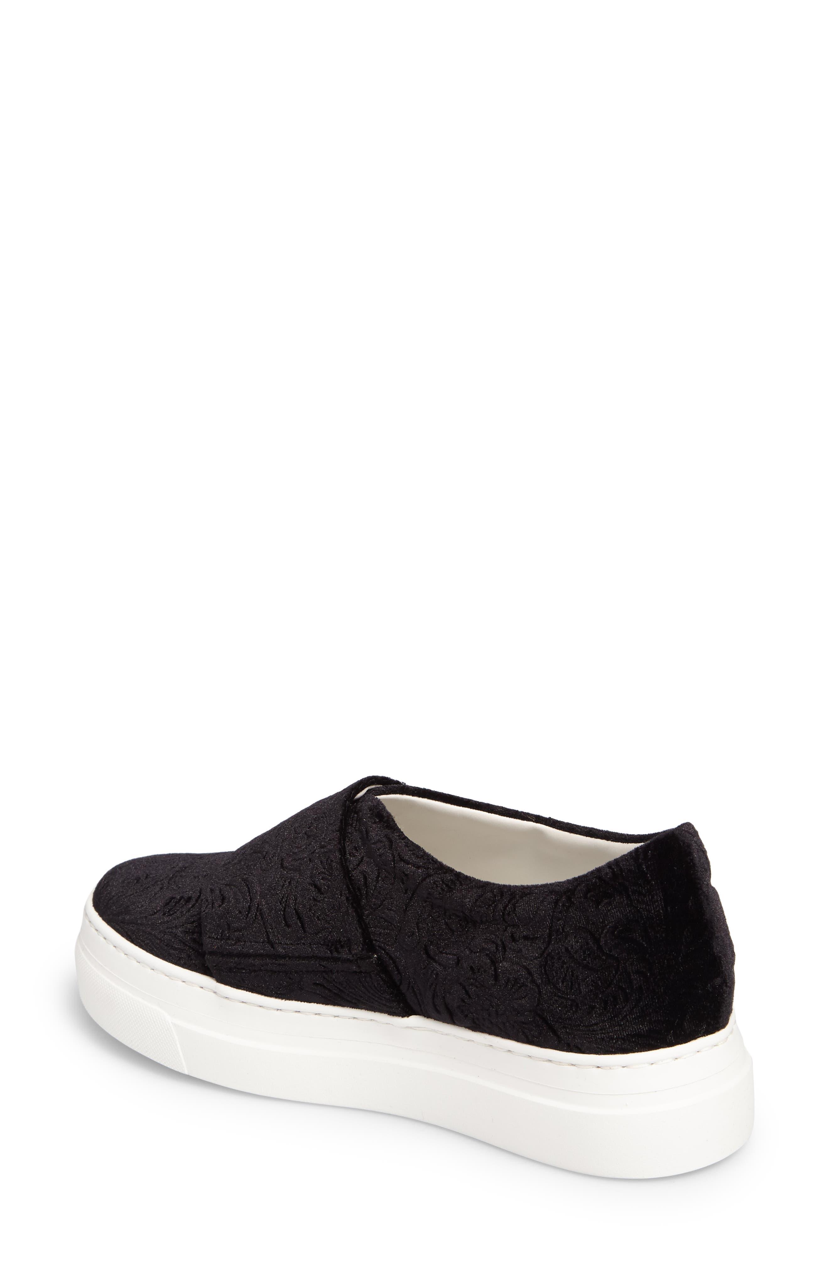 Arlo Slip-On Platform Sneaker,                             Alternate thumbnail 2, color,                             Black Embossed Velvet