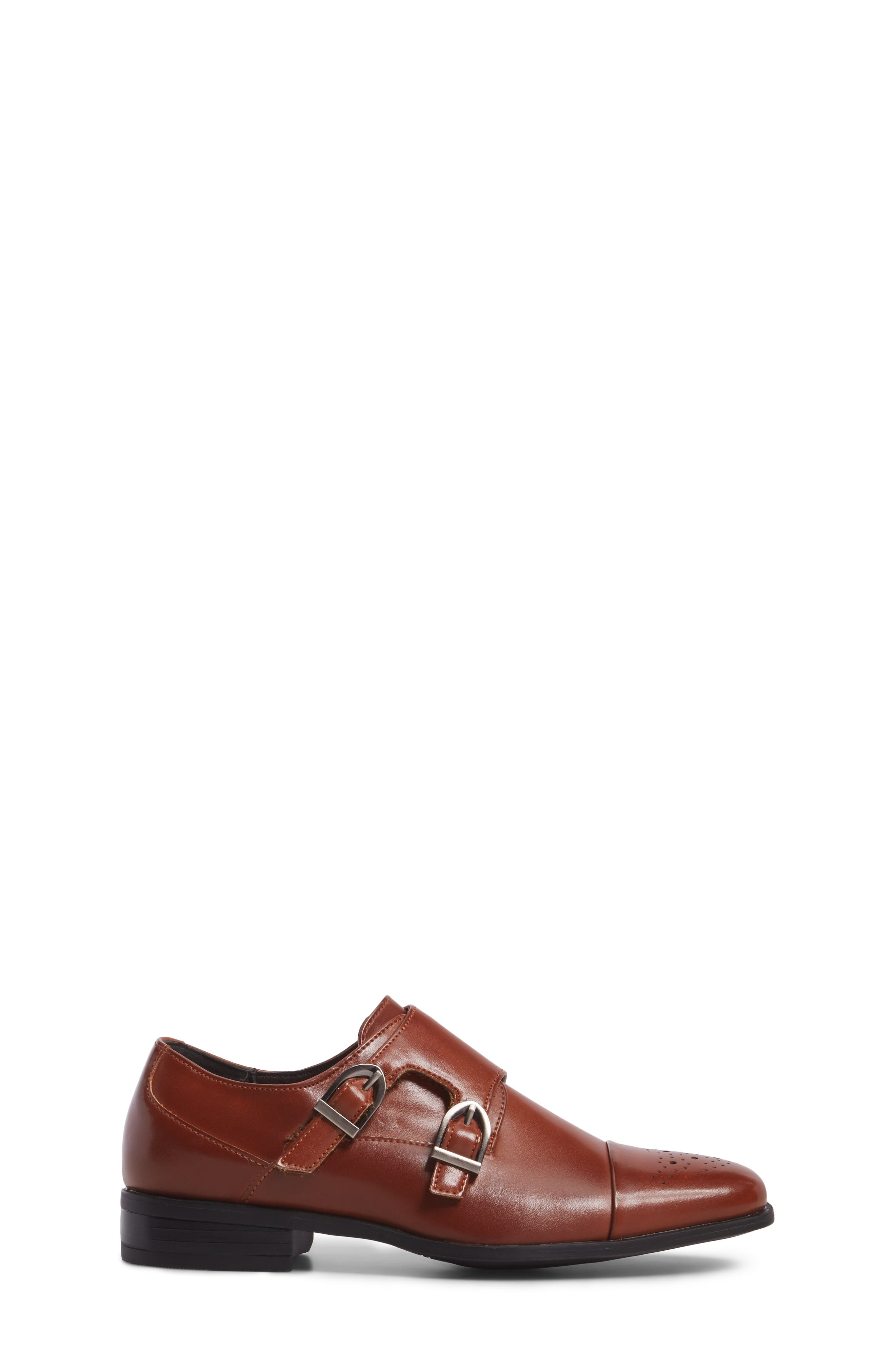 Trevor Cap Toe Monk Shoe,                             Alternate thumbnail 3, color,                             Cognac