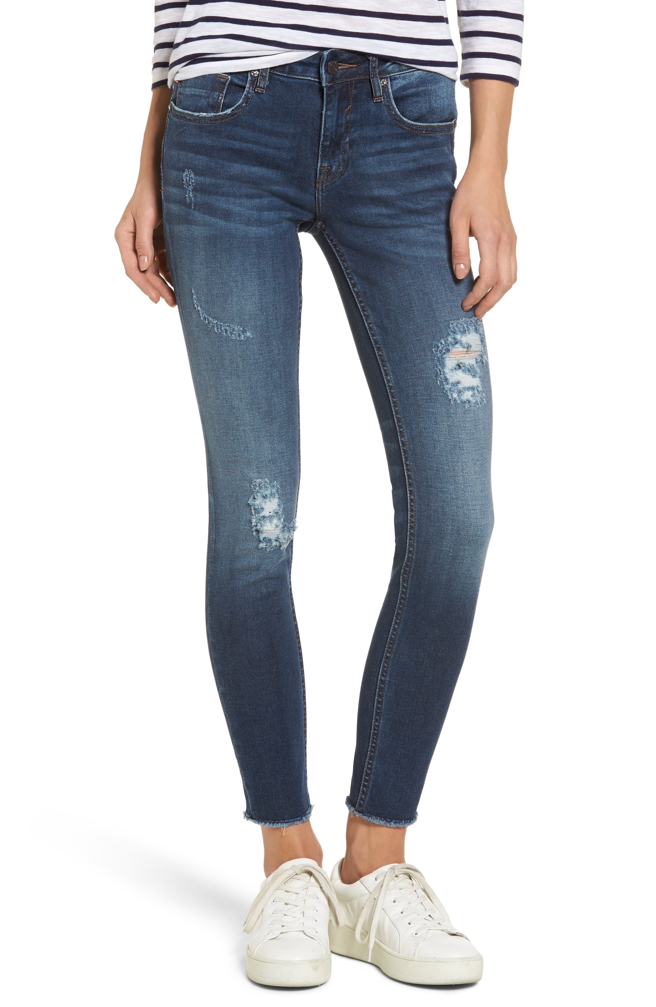 Jagger Distressed Skinny Jeans,                             Main thumbnail 1, color,                             Dark Wash