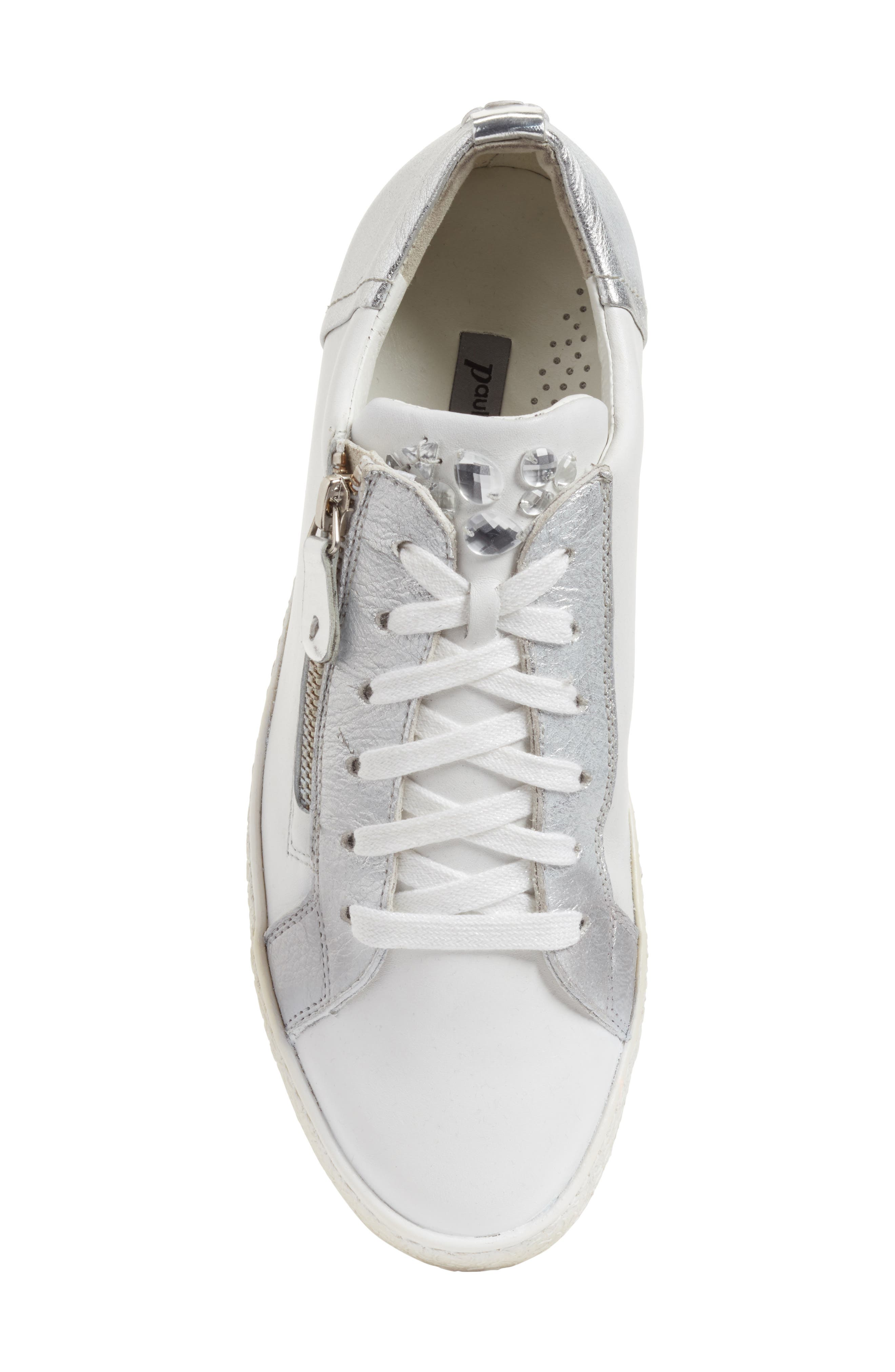 Minnie Sneaker,                             Alternate thumbnail 6, color,                             White/ Silver Leather