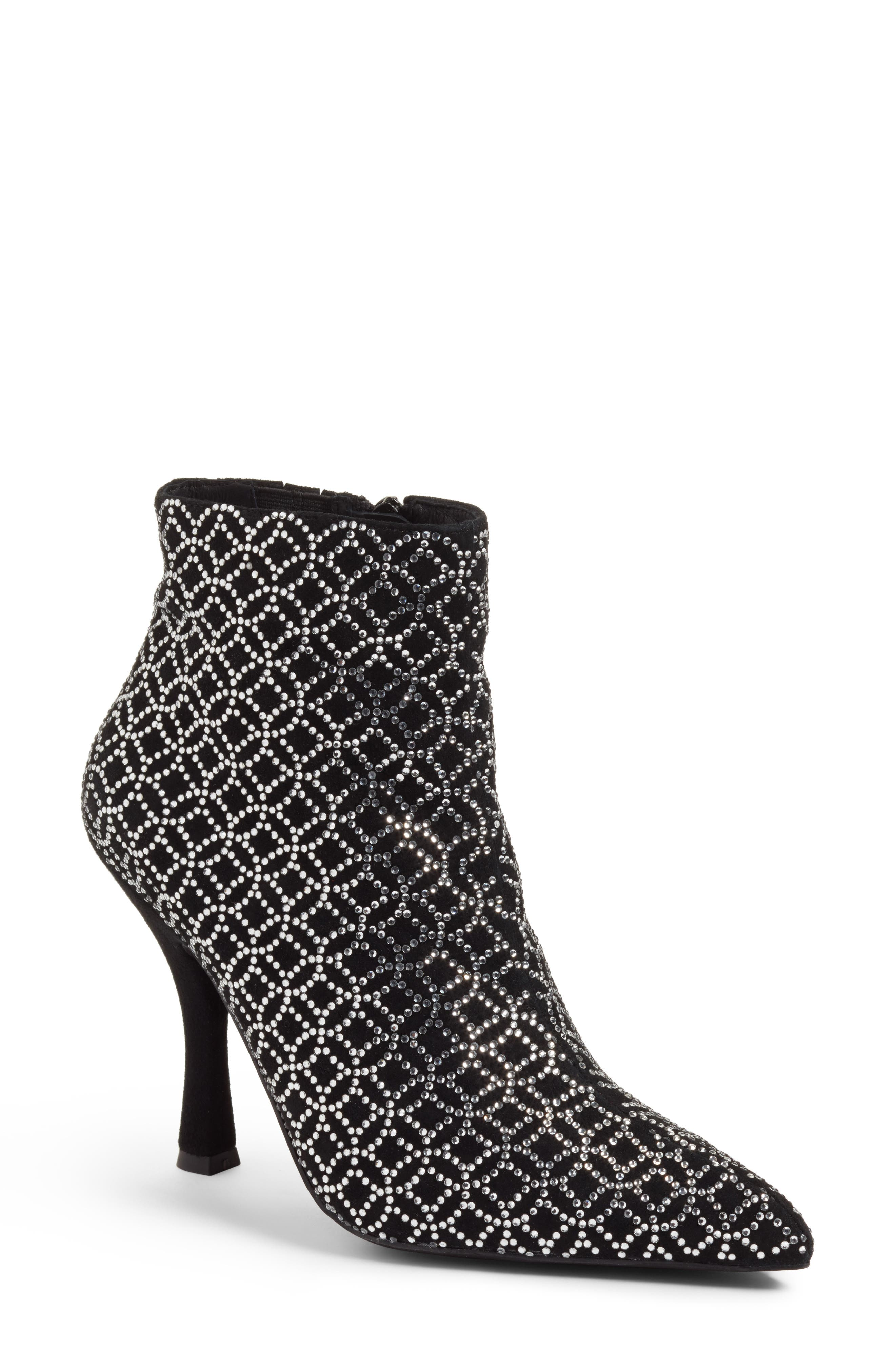 Brillo Crystal Embellished Bootie,                             Main thumbnail 1, color,                             Black Suede Silver