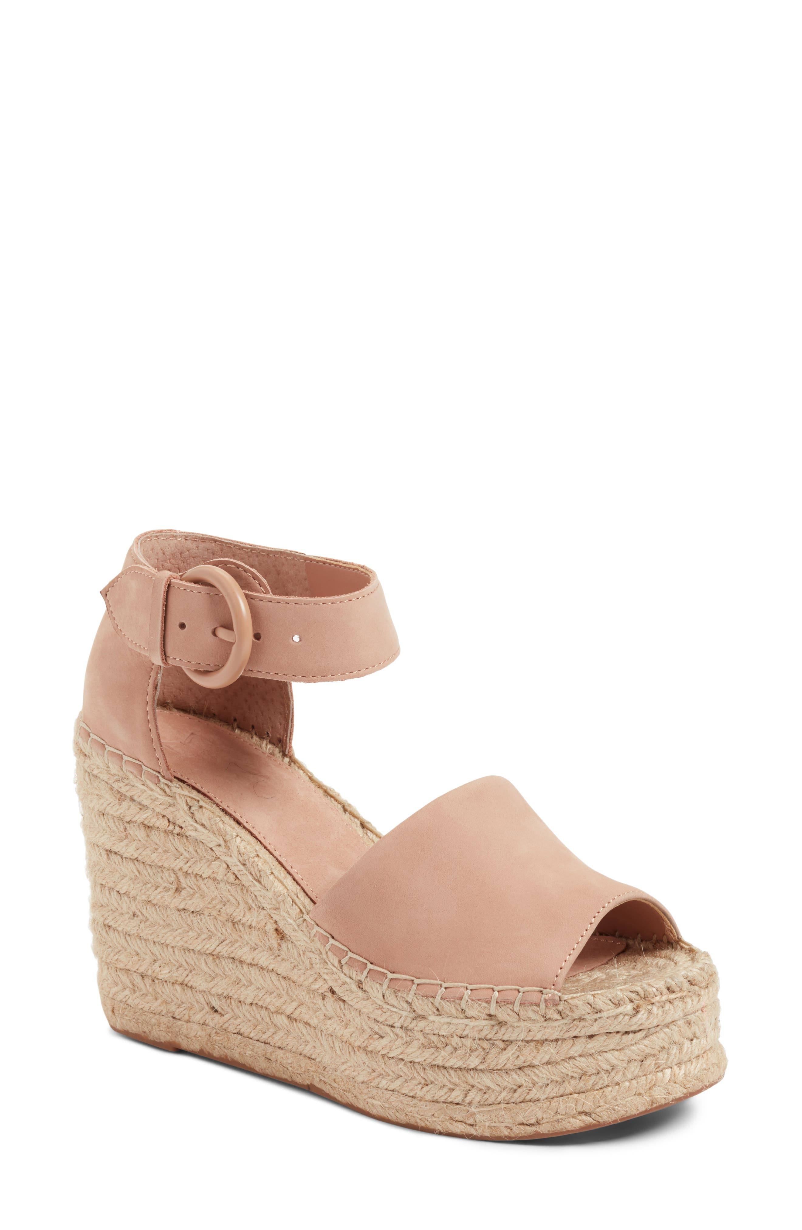 Marc Fisher Genny Natural Nude Leather Multi Strap Wedge Sandals NEW