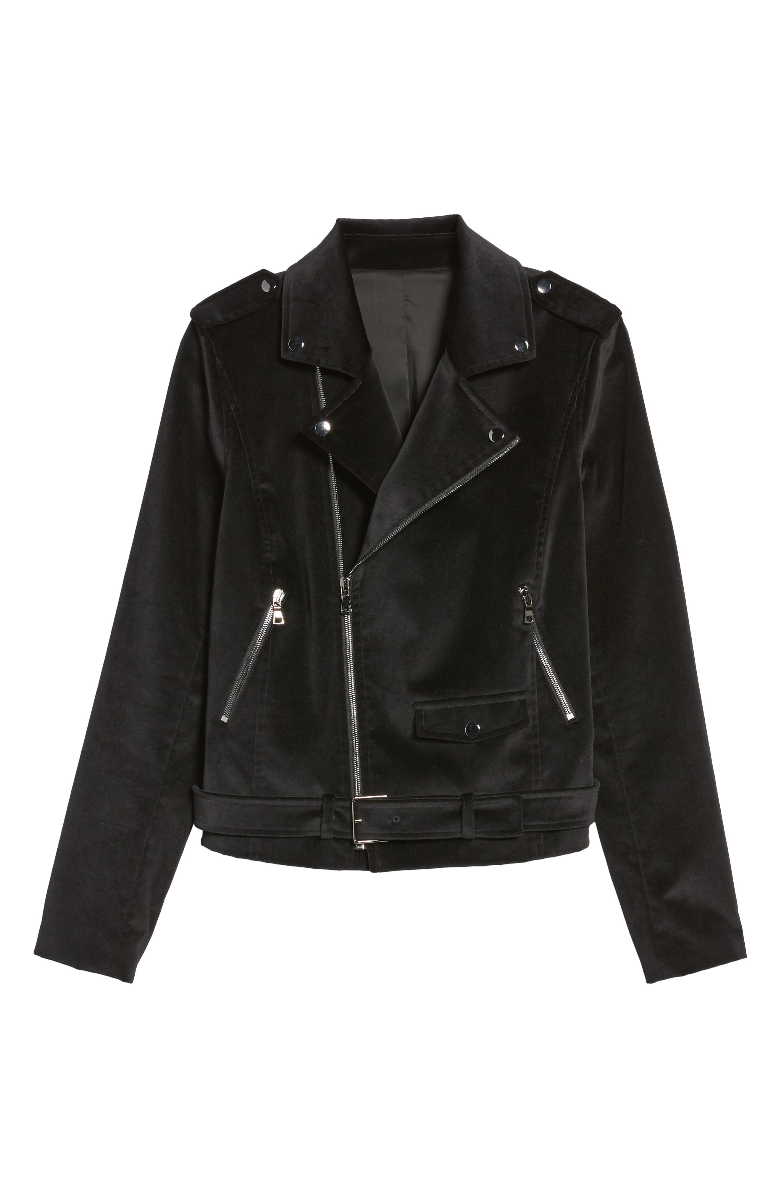 Velvet Moto Jacket,                             Alternate thumbnail 7, color,                             Black