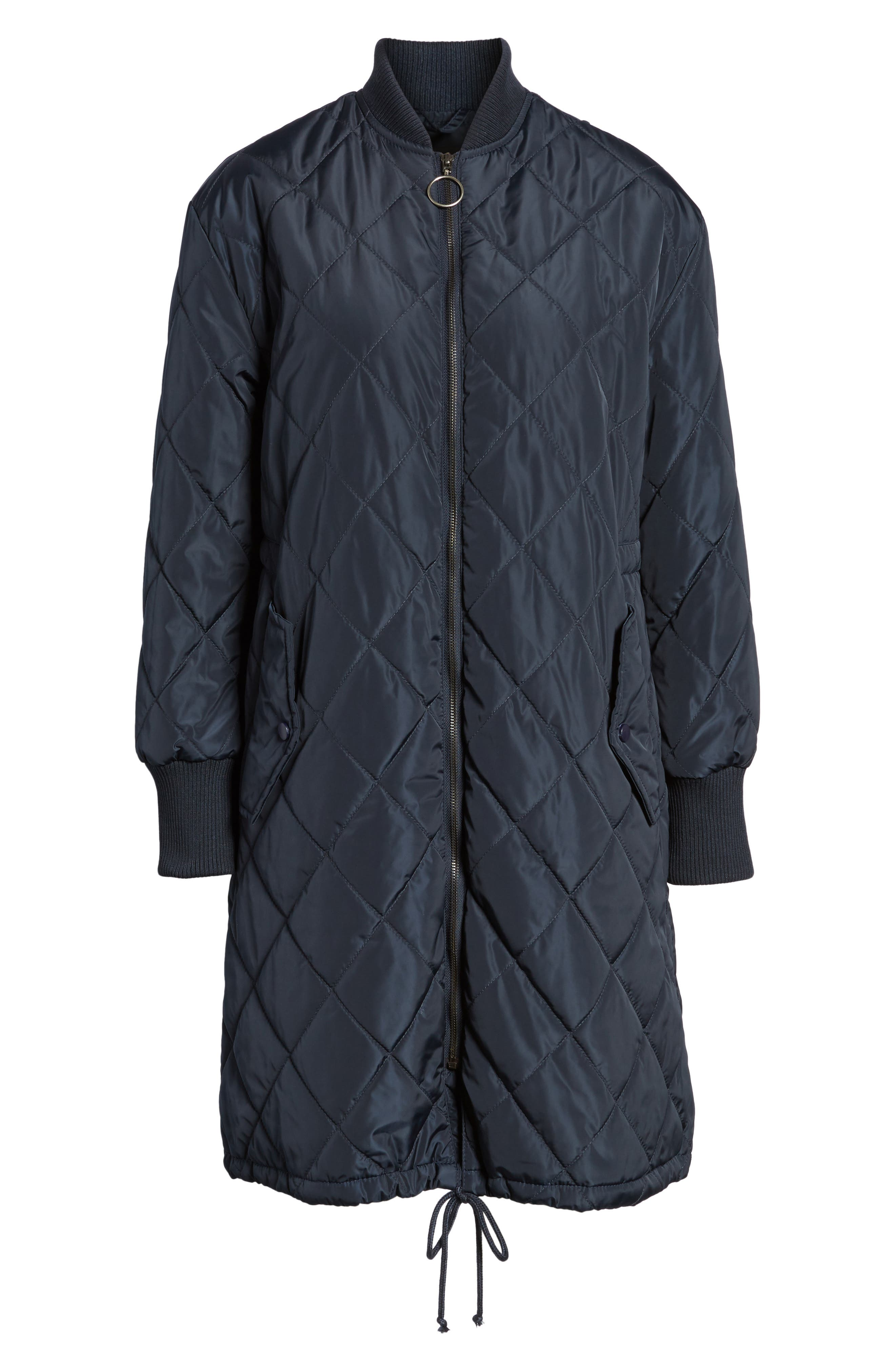 Merchant Long Quilted Jacket,                             Alternate thumbnail 6, color,                             Navy