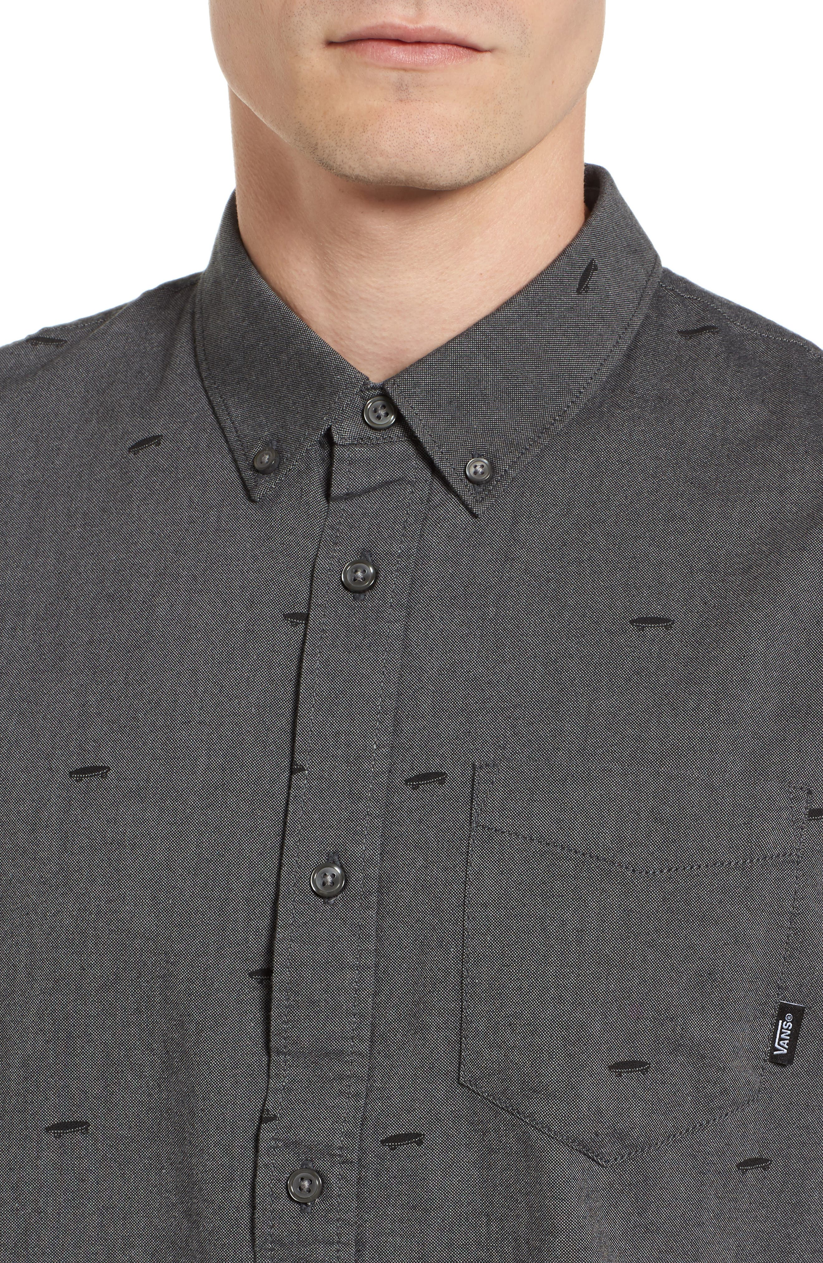 Houser Woven Shirt,                             Alternate thumbnail 4, color,                             Black Salton Ditsy