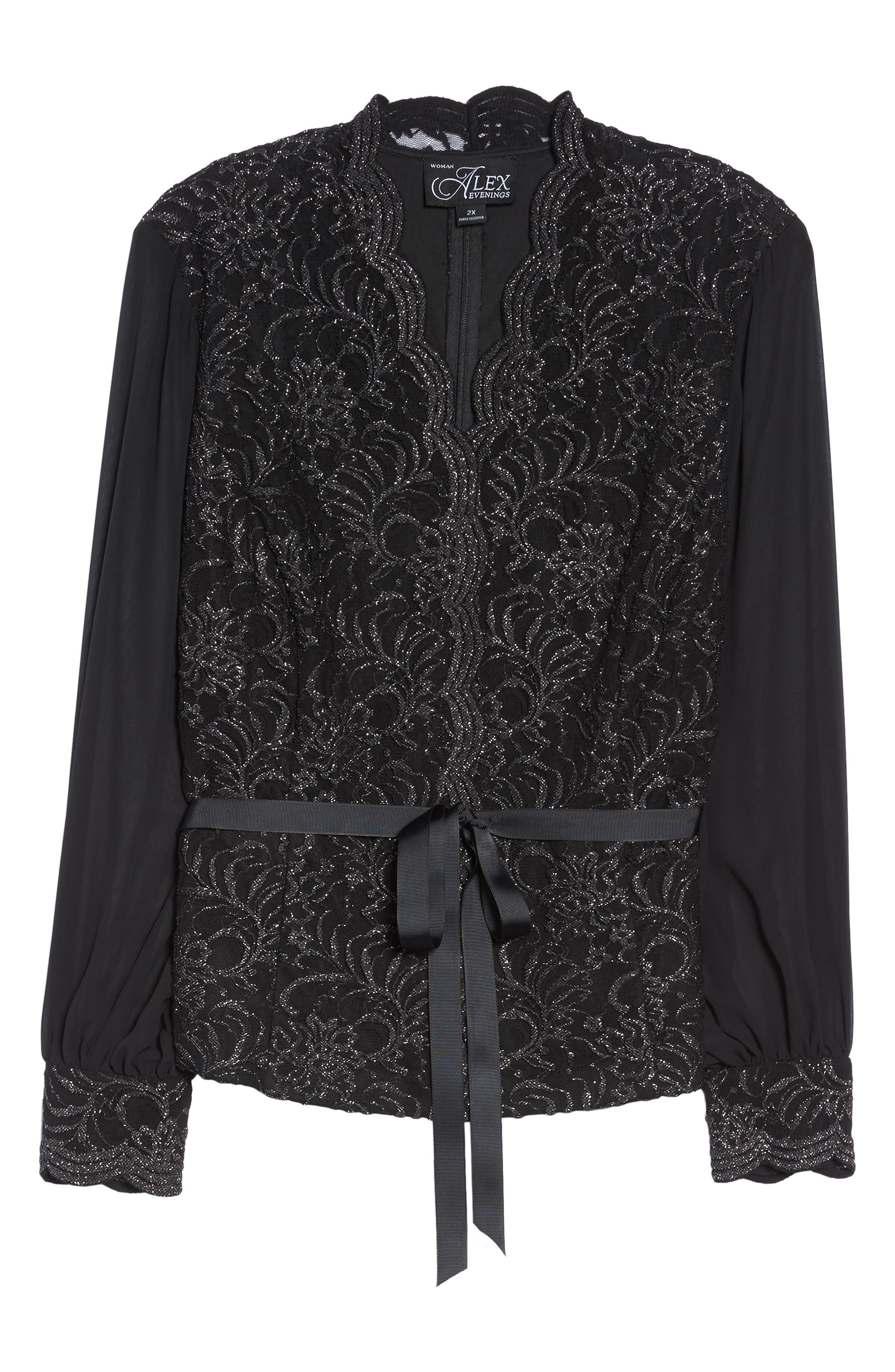Alternate Image 6  - Alex Evenings Sequin Lace Blouse with Tie Waist (Plus Size)