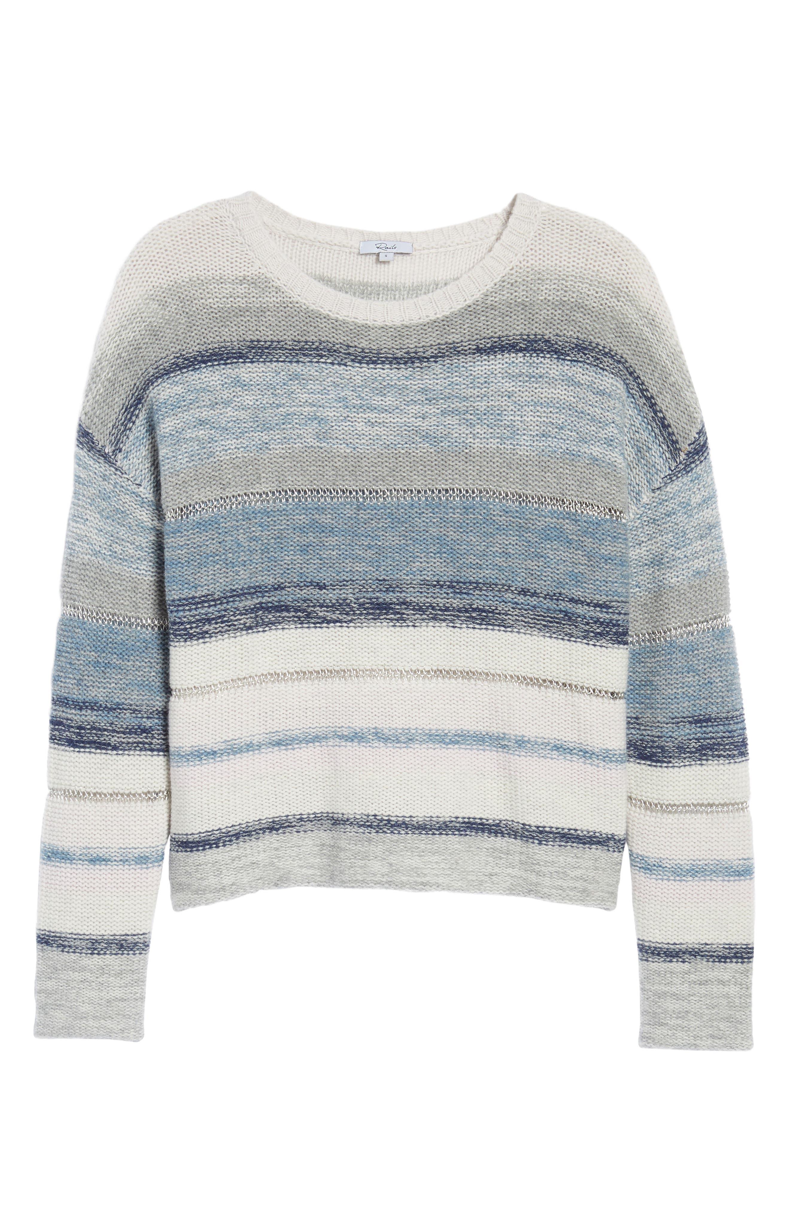 Daphne Stripe Wool & Cashmere Sweater,                             Alternate thumbnail 6, color,                             Swiss Alps
