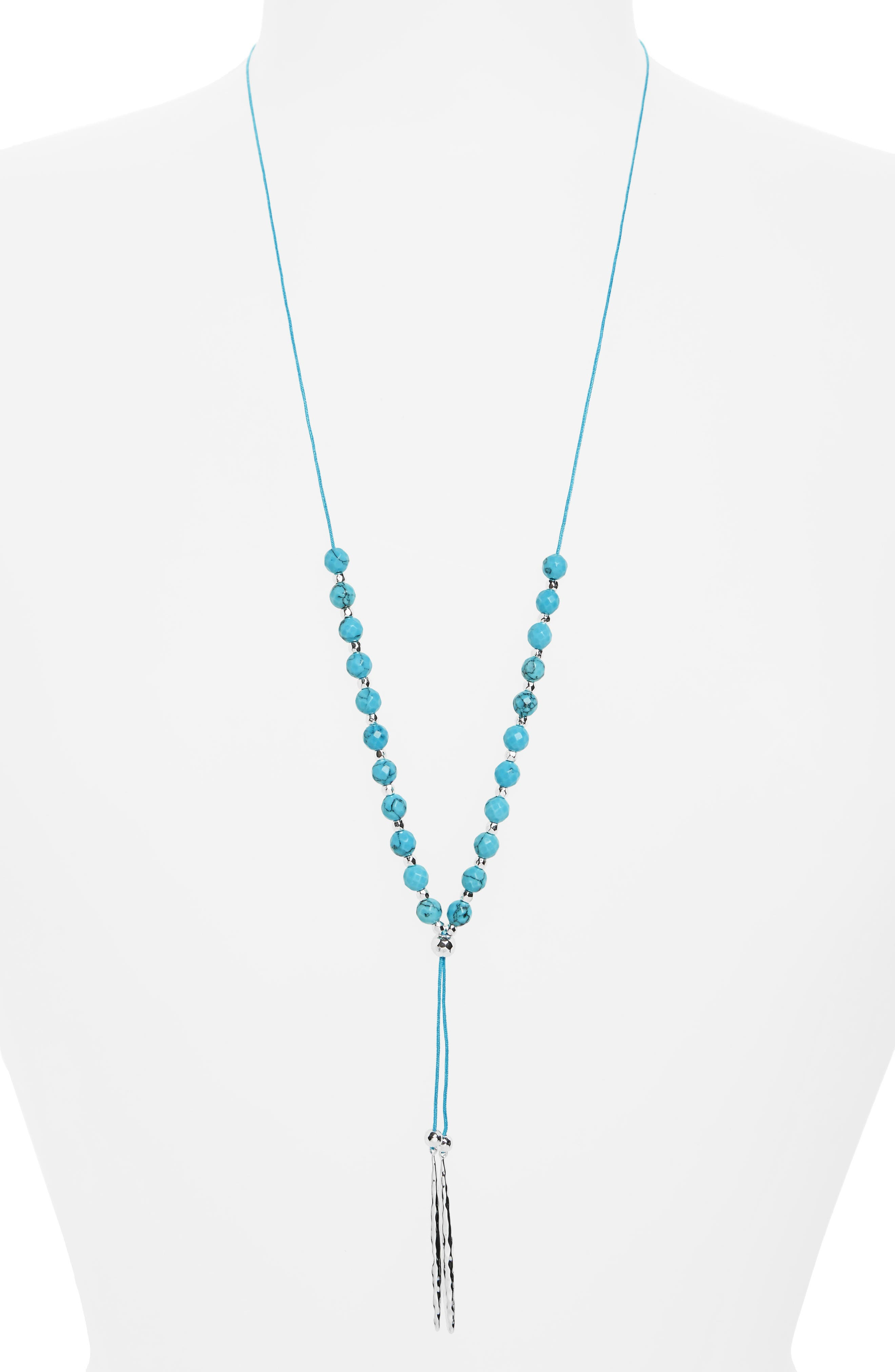 'Nora' Long Beaded Pendant Necklace,                         Main,                         color, Turquoise/ Silver