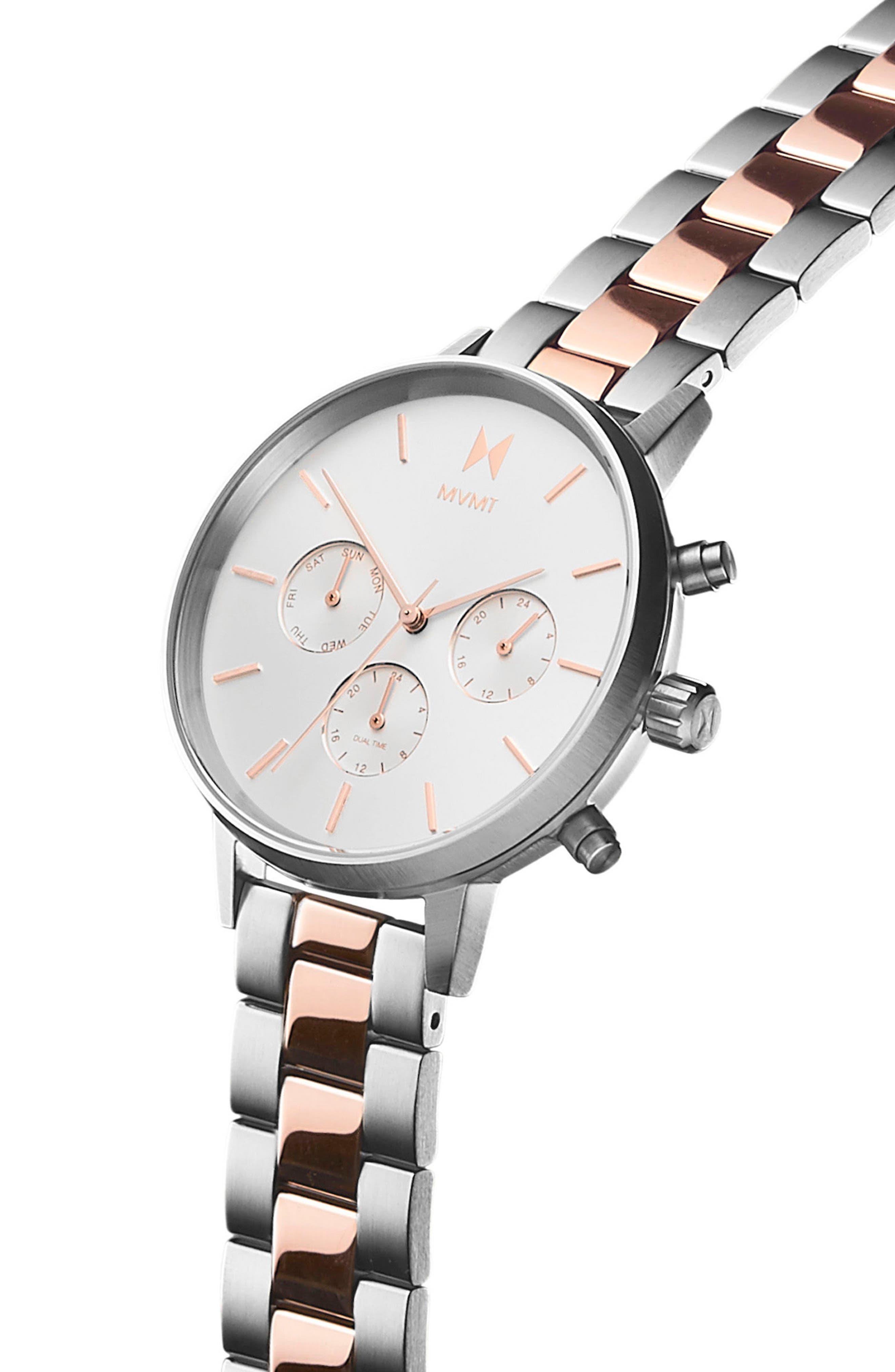 Nova Chronograph Bracelet Watch, 38mm,                             Alternate thumbnail 3, color,                             Silver/ White/ Rose Gold