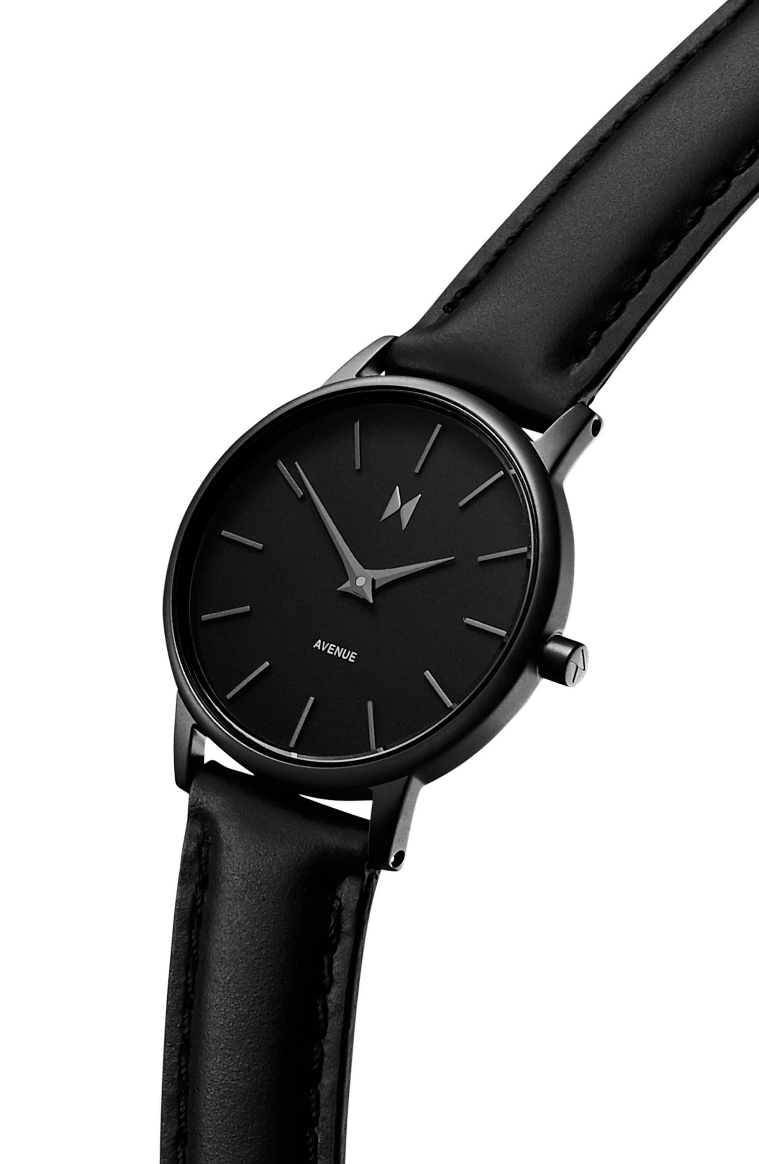 Belamar Leather Strap Watch, 28mm,                             Alternate thumbnail 3, color,                             Black
