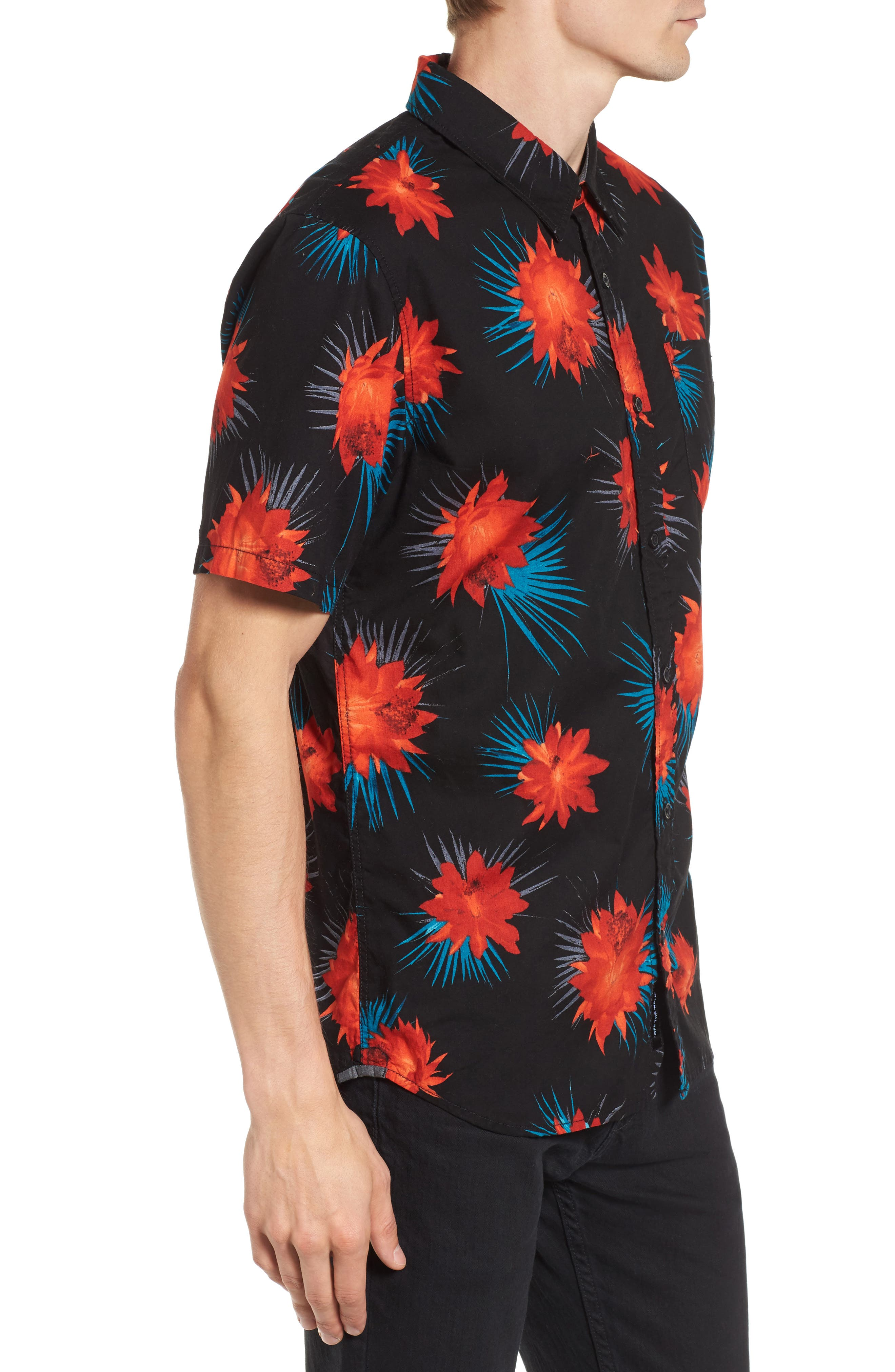 Cultivar Woven Shirt,                             Alternate thumbnail 3, color,                             Cactus Floral
