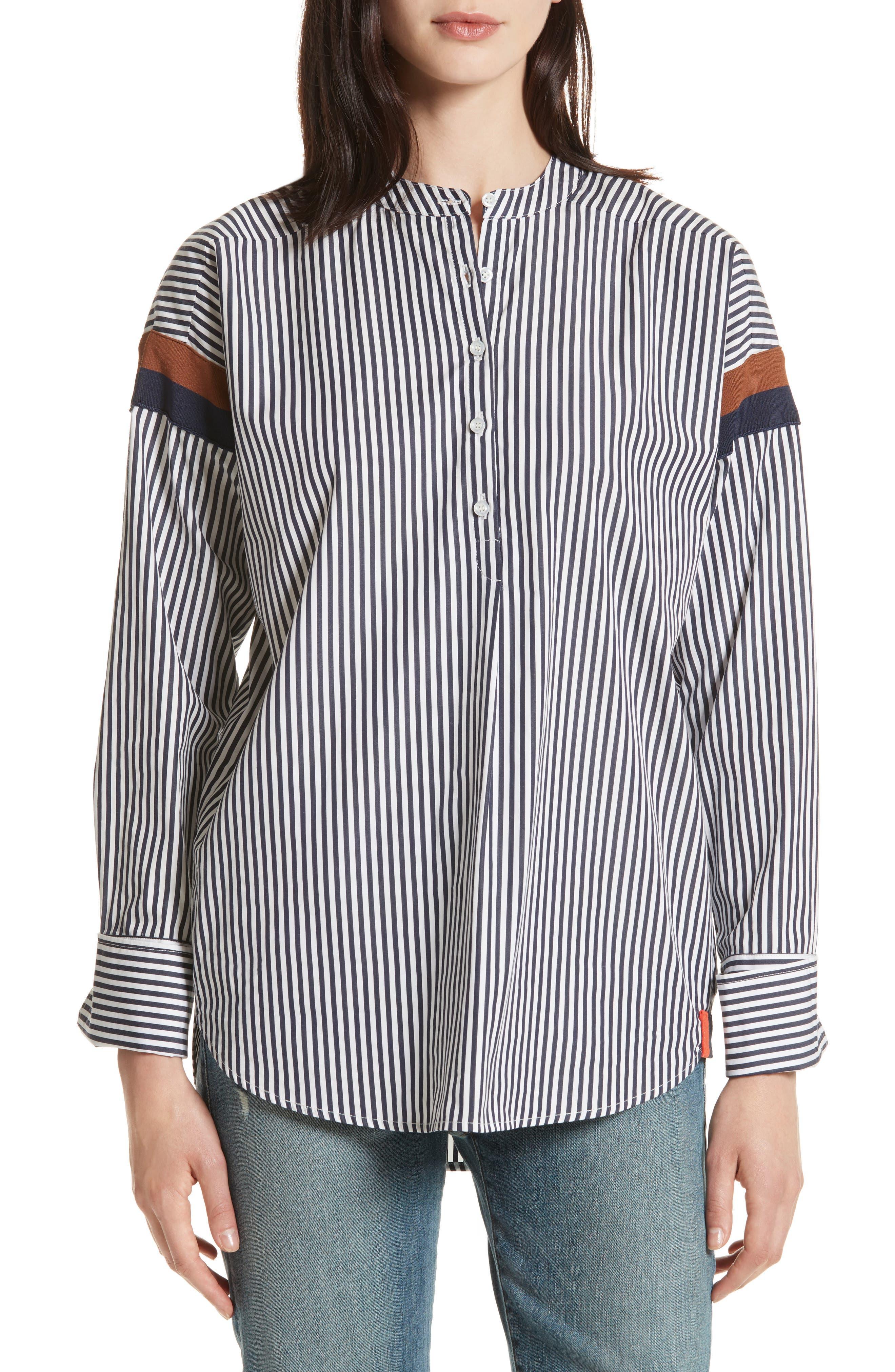 The Wallis Stripe Cotton Shirt,                         Main,                         color, White/ Navy