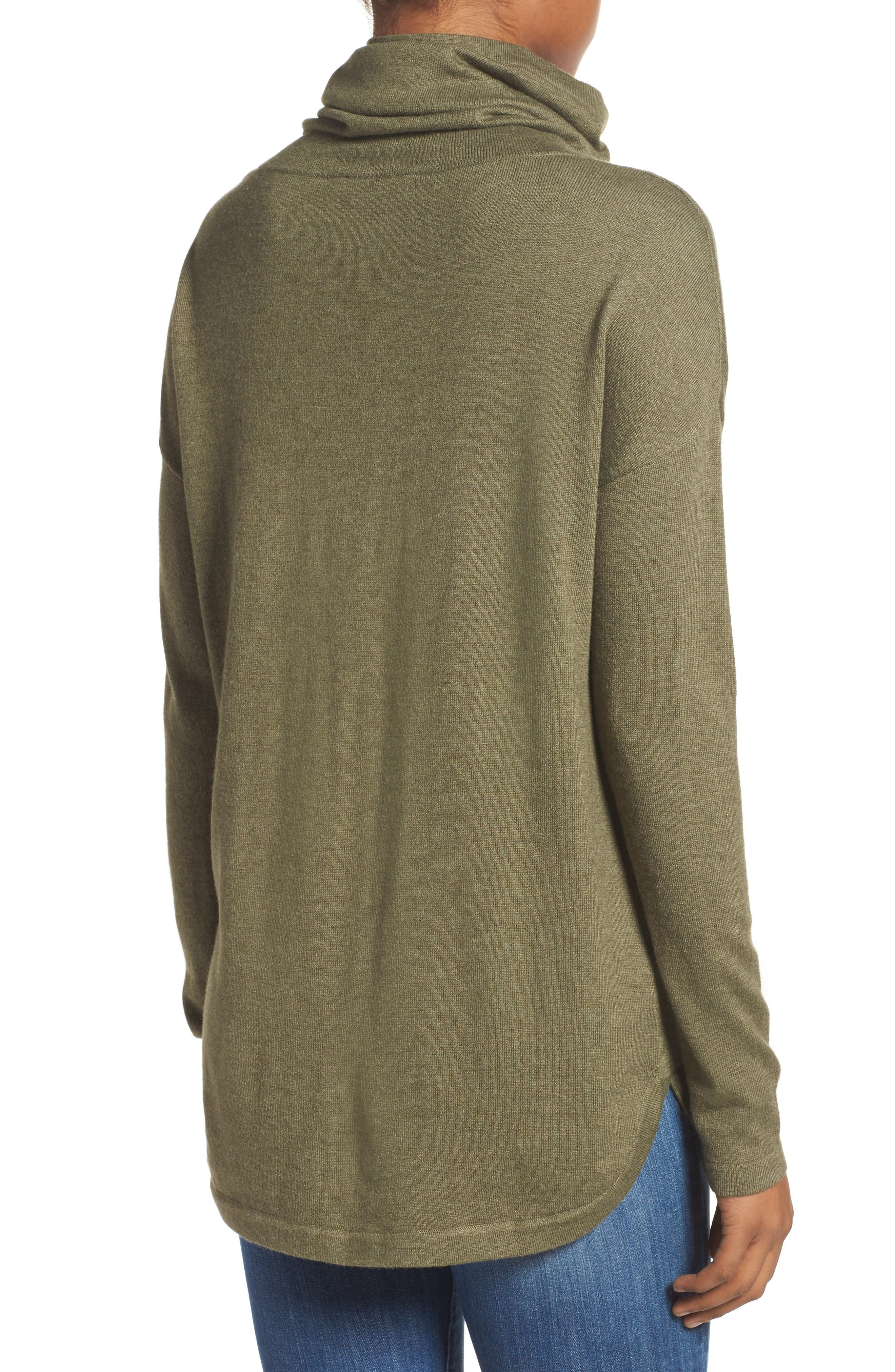 Woodland Tunic Sweater,                             Alternate thumbnail 3, color,                             Burnt Olive Green Heather