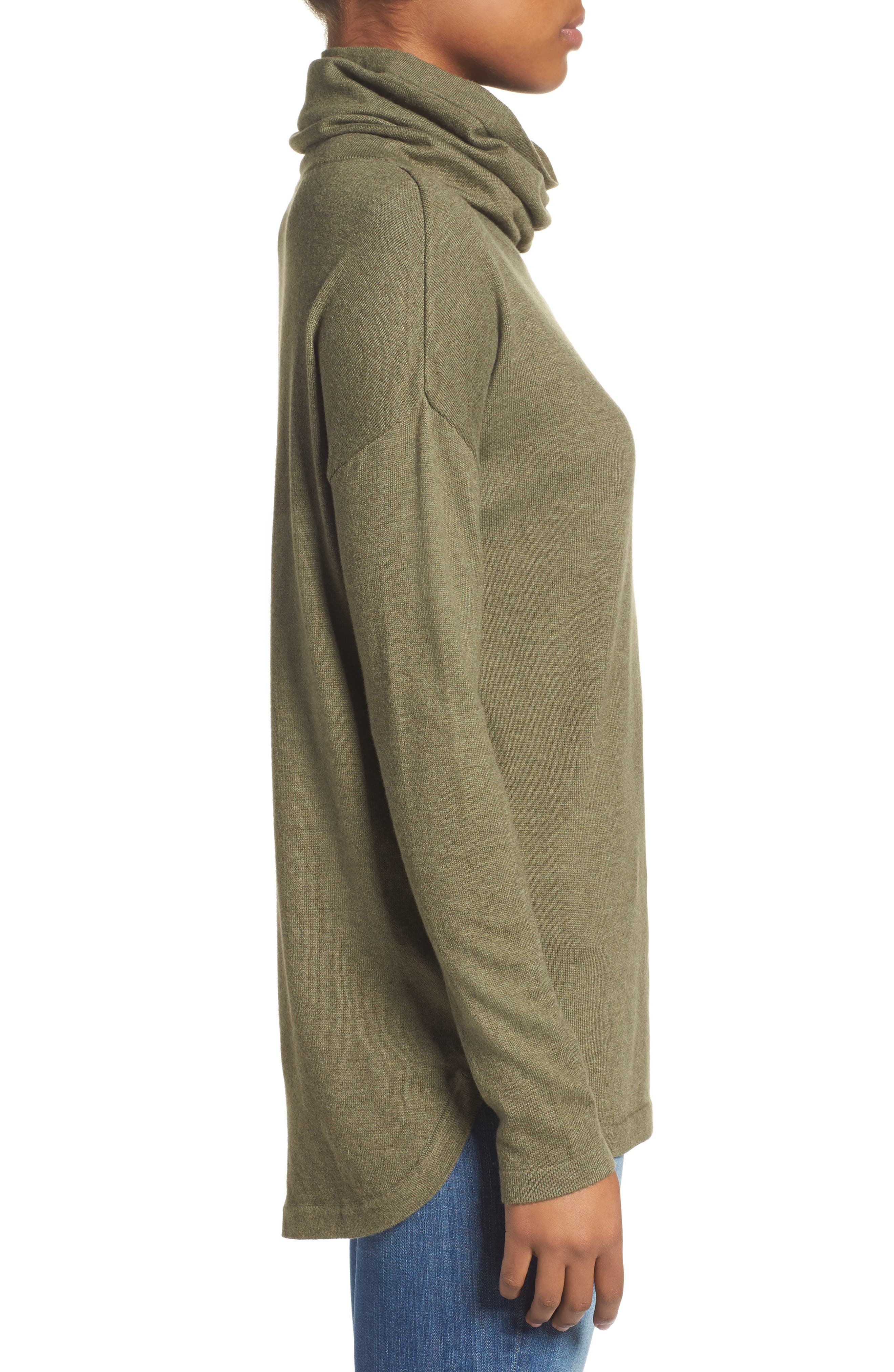 Woodland Tunic Sweater,                             Alternate thumbnail 2, color,                             Burnt Olive Green Heather
