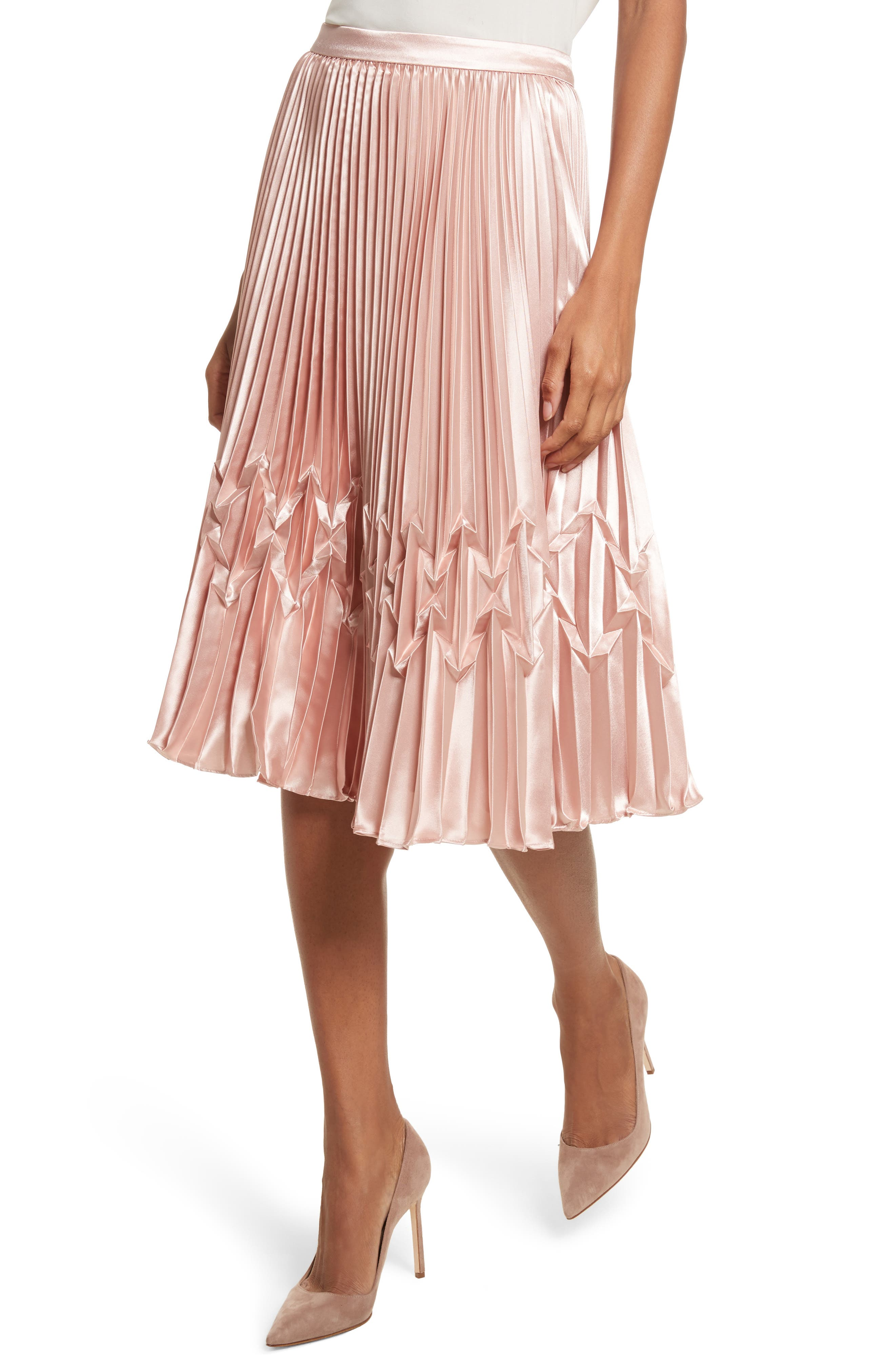 Zigzag Detail Pleated Midi Skirt,                             Alternate thumbnail 4, color,                             Rose Gold