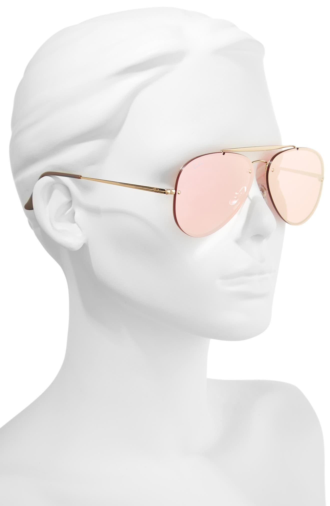 61mm Mirrored Lens Aviator Sunglasses,                             Alternate thumbnail 2, color,                             Gold Pink