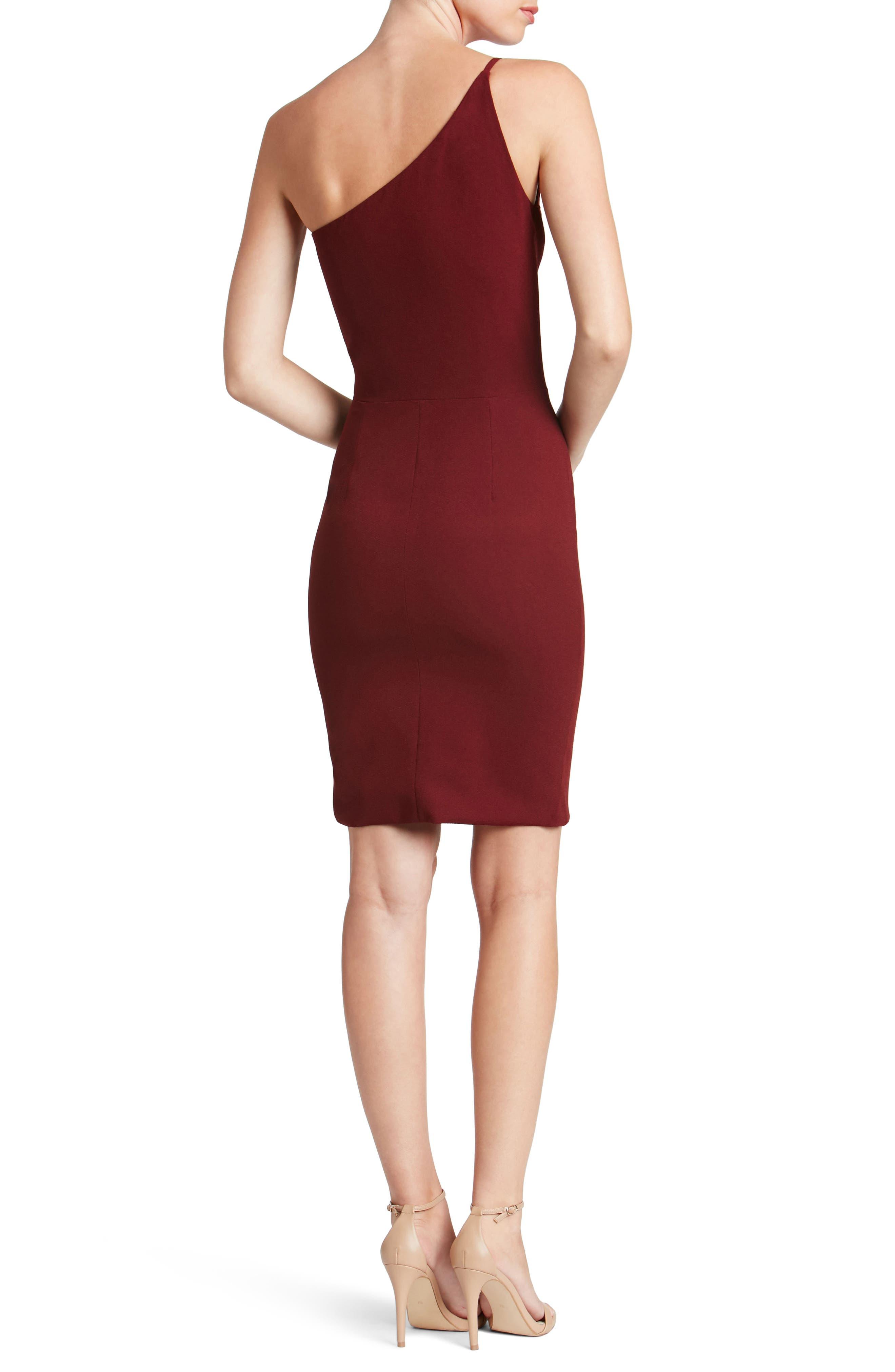 Jennifer One-Shoulder Body-Con Dress,                             Alternate thumbnail 3, color,                             Burgundy