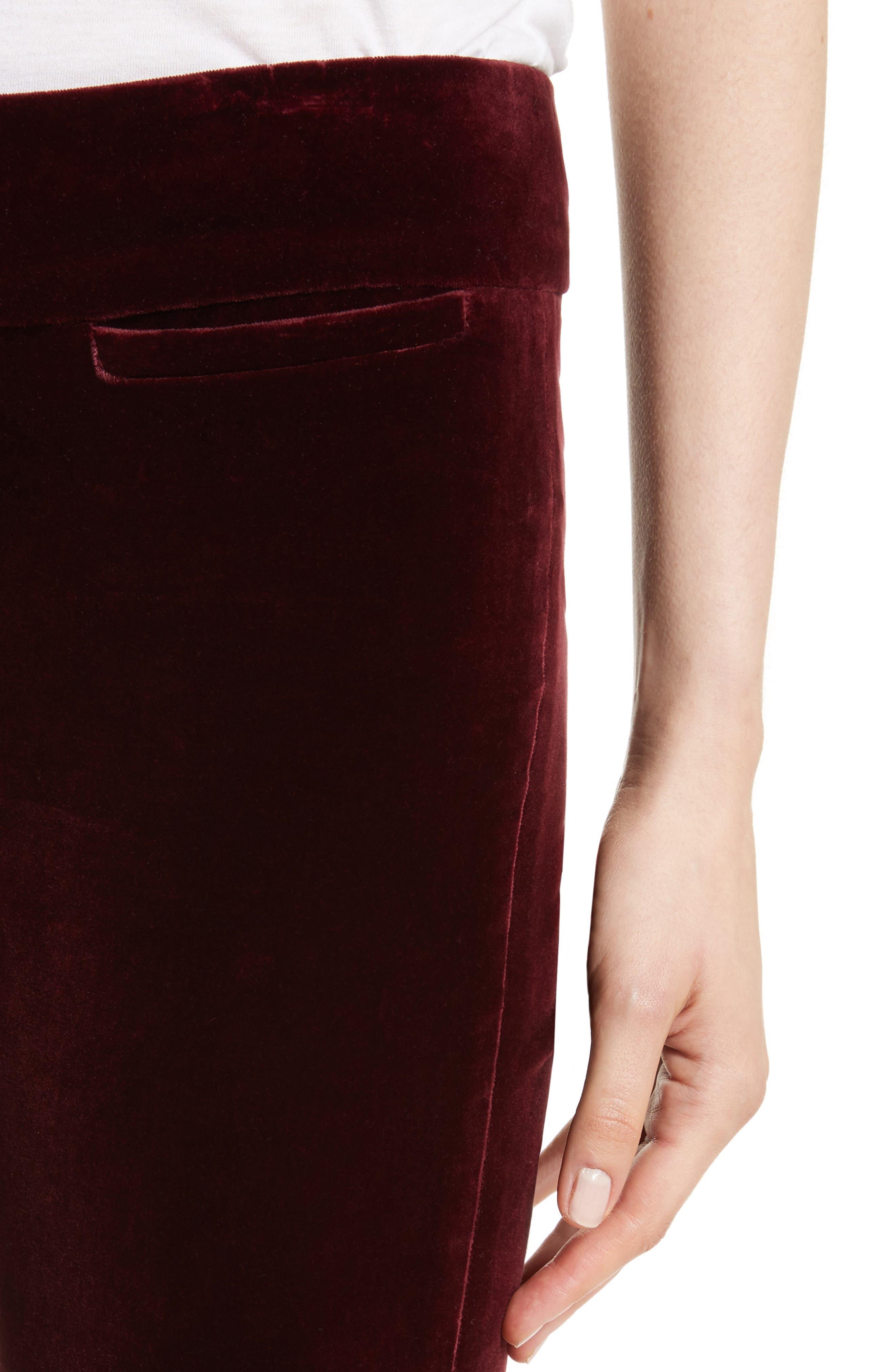 Amoire Velvet Flare Pants,                             Alternate thumbnail 6, color,                             Burgundy