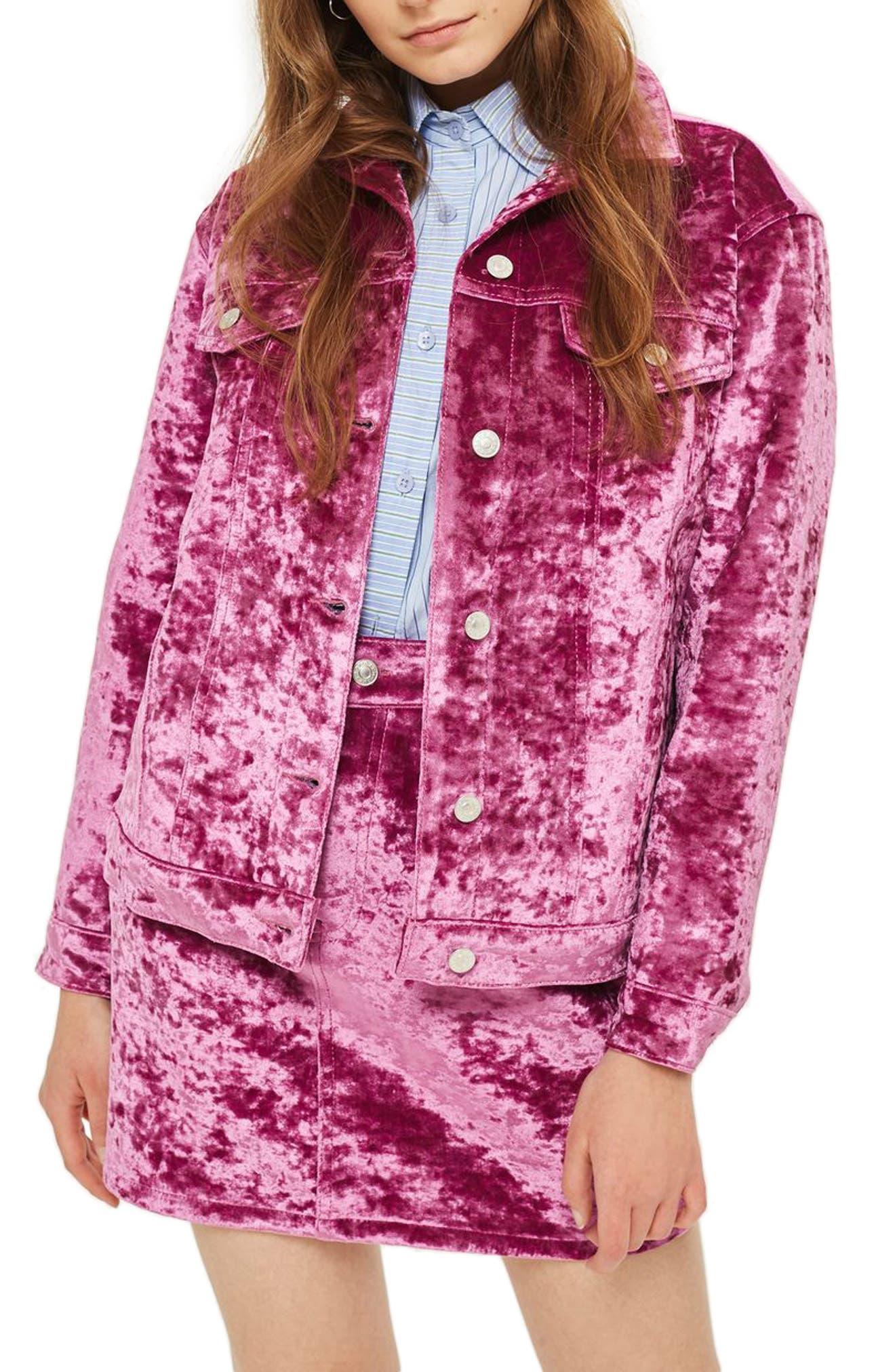 Main Image - Topshop Bonded Velvet Jacket