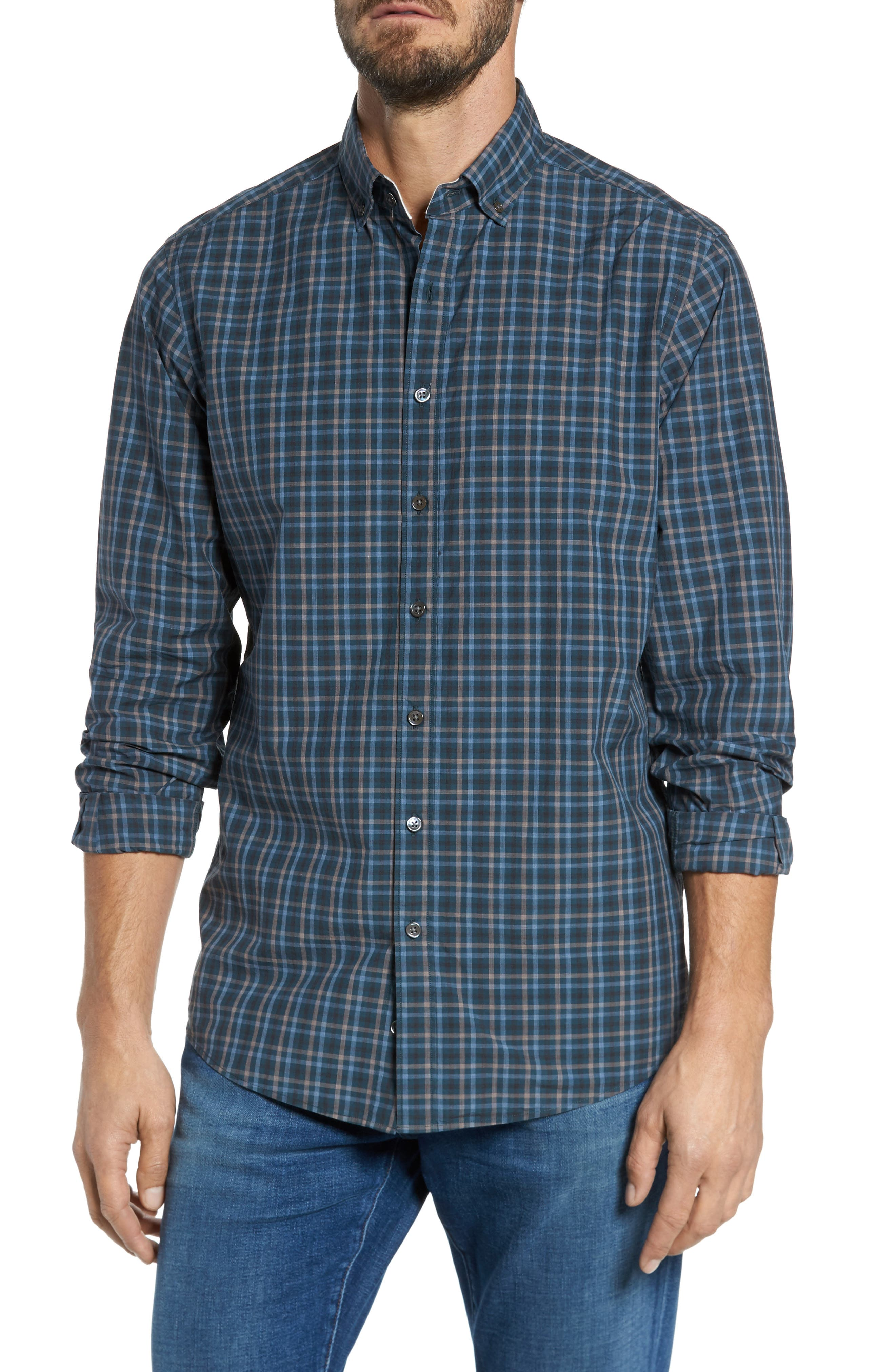 Rock and Pillar Check Sport Shirt,                         Main,                         color, Forest