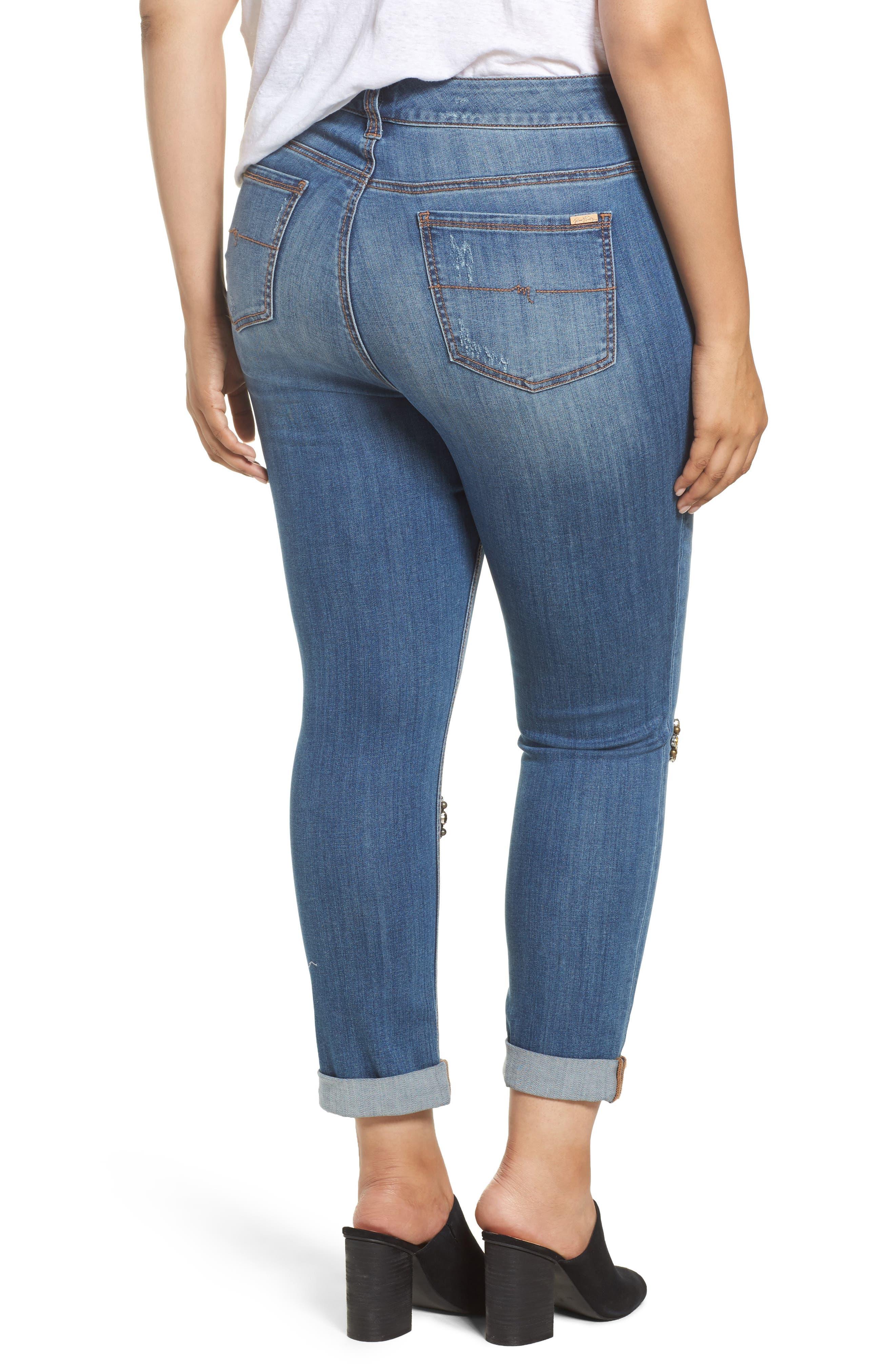 Alternate Image 2  - Melissa McCarthy Seven7 Jeweled Skinny Jeans (Heiress) (Plus Size)