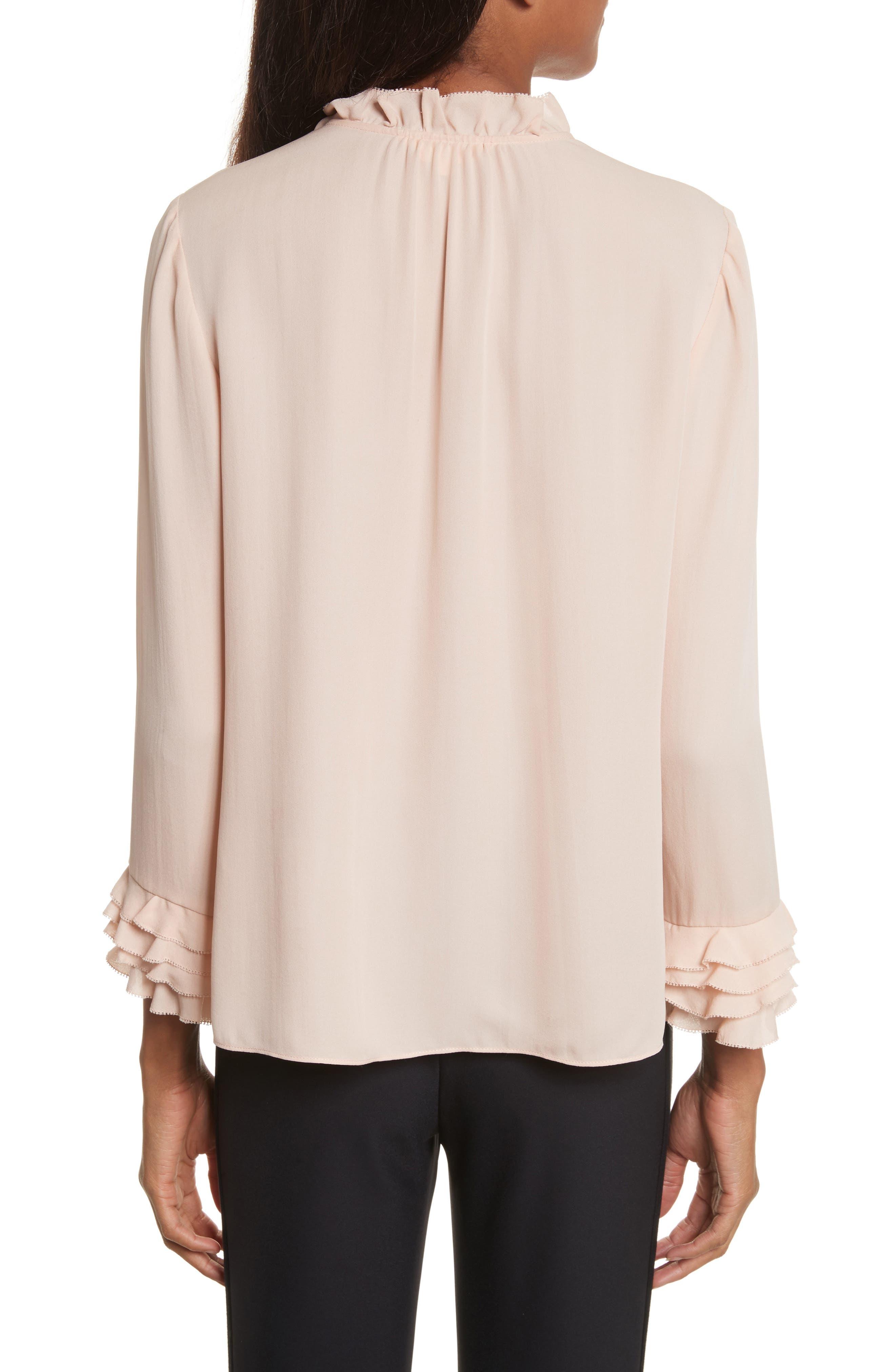 Alternate Image 2  - Rebecca Taylor Long Sleeve Ruffle Silk Blouse