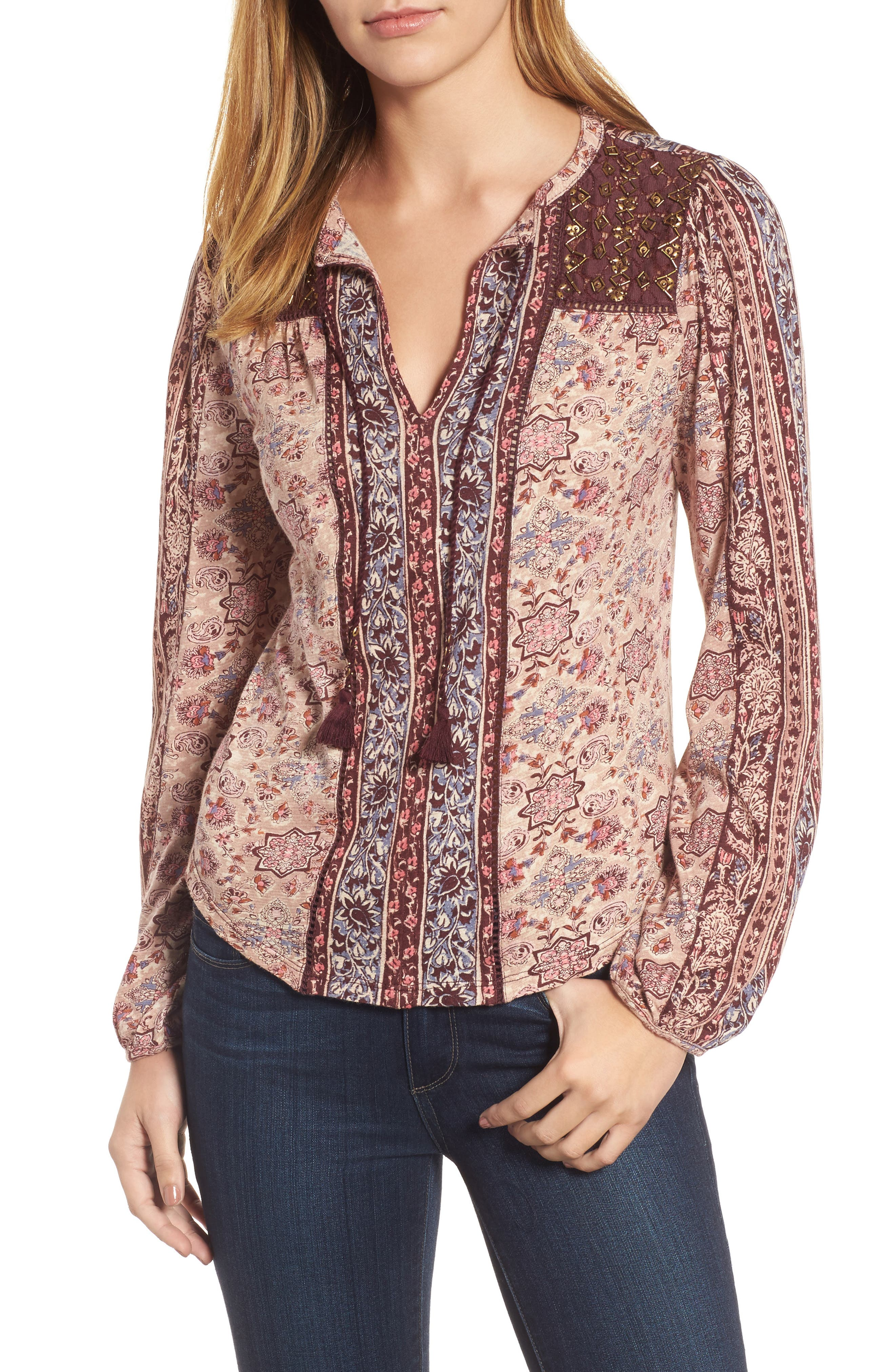 Lucky Brand Beaded Mixed Print Top