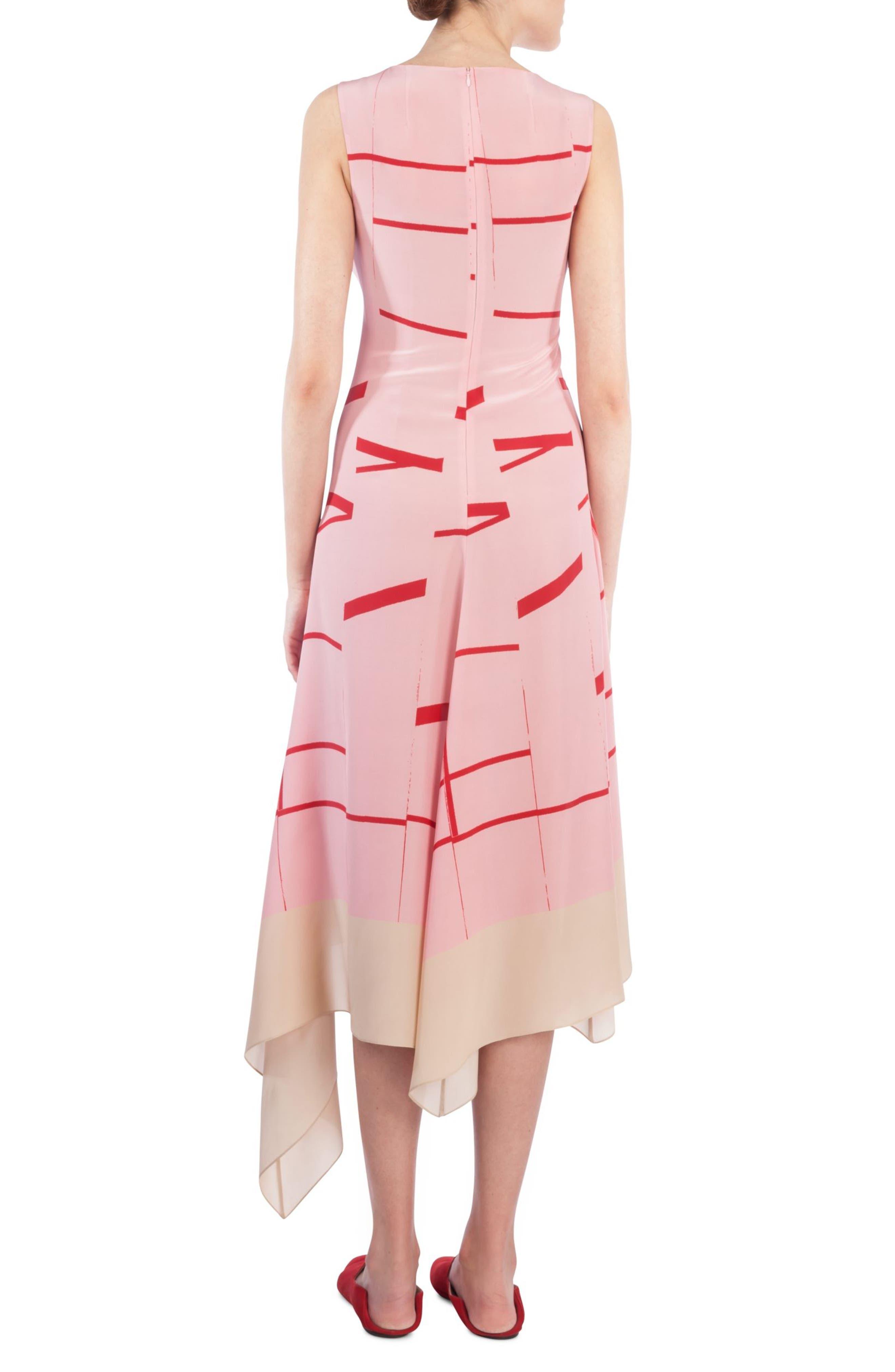 Broken Stripe Silk Crepe Asymmetrical Dress,                             Alternate thumbnail 2, color,                             Waterlily-Love