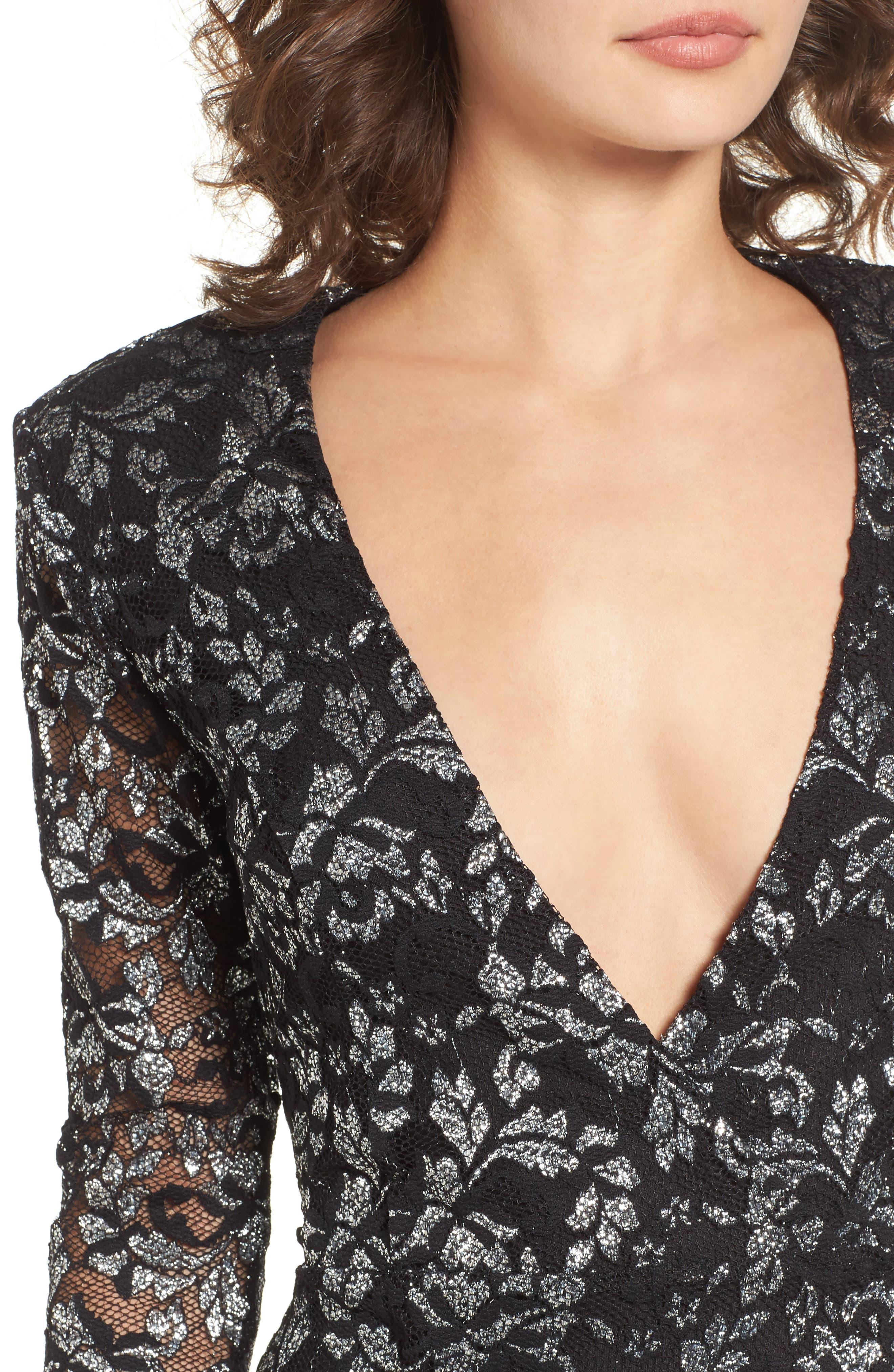 Laney Metallic Lace Wrap Dress,                             Alternate thumbnail 4, color,                             Black/ Silver