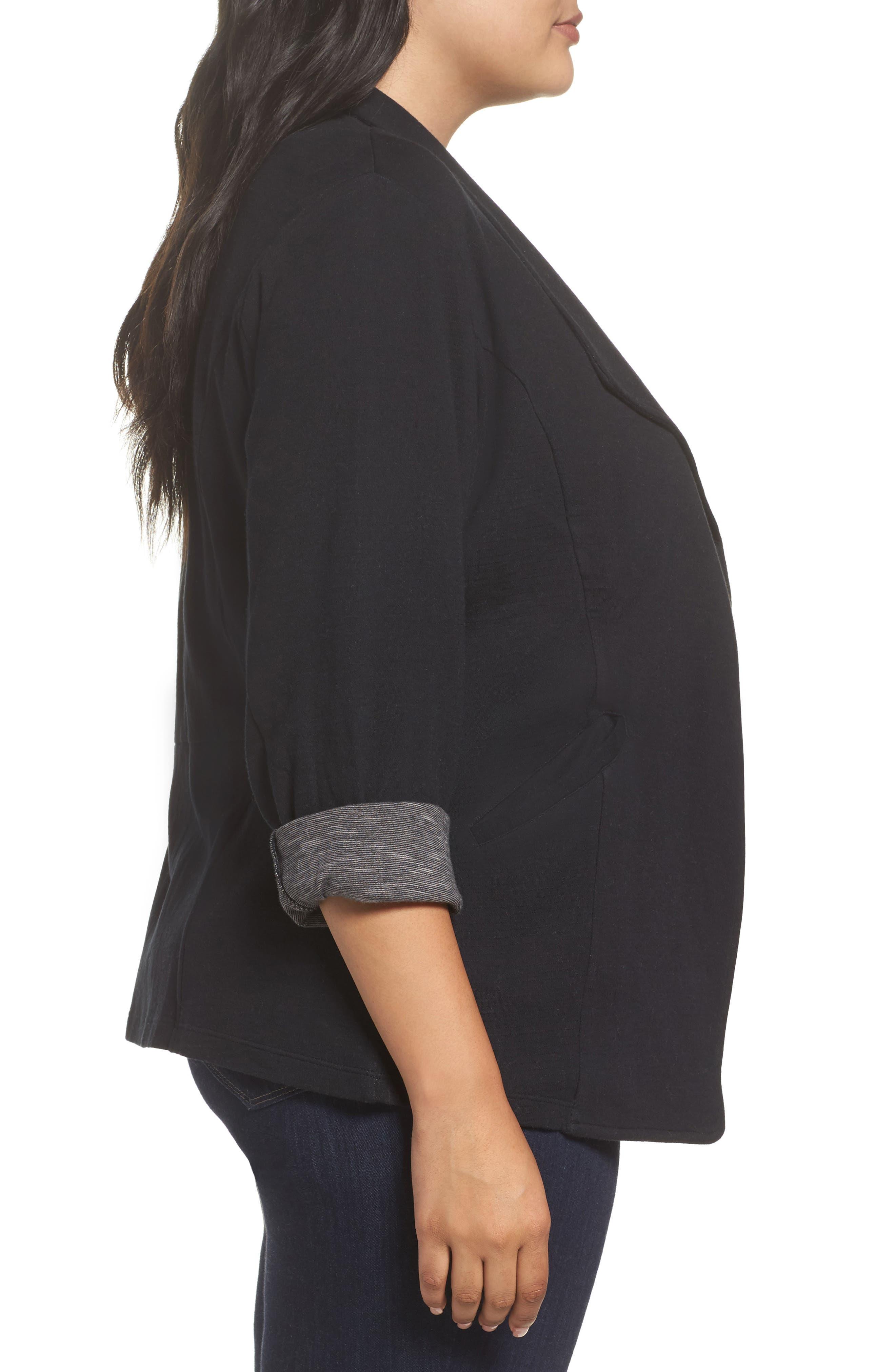 Wing Collar Knit Blazer,                             Alternate thumbnail 3, color,                             Black- Grey Pattern