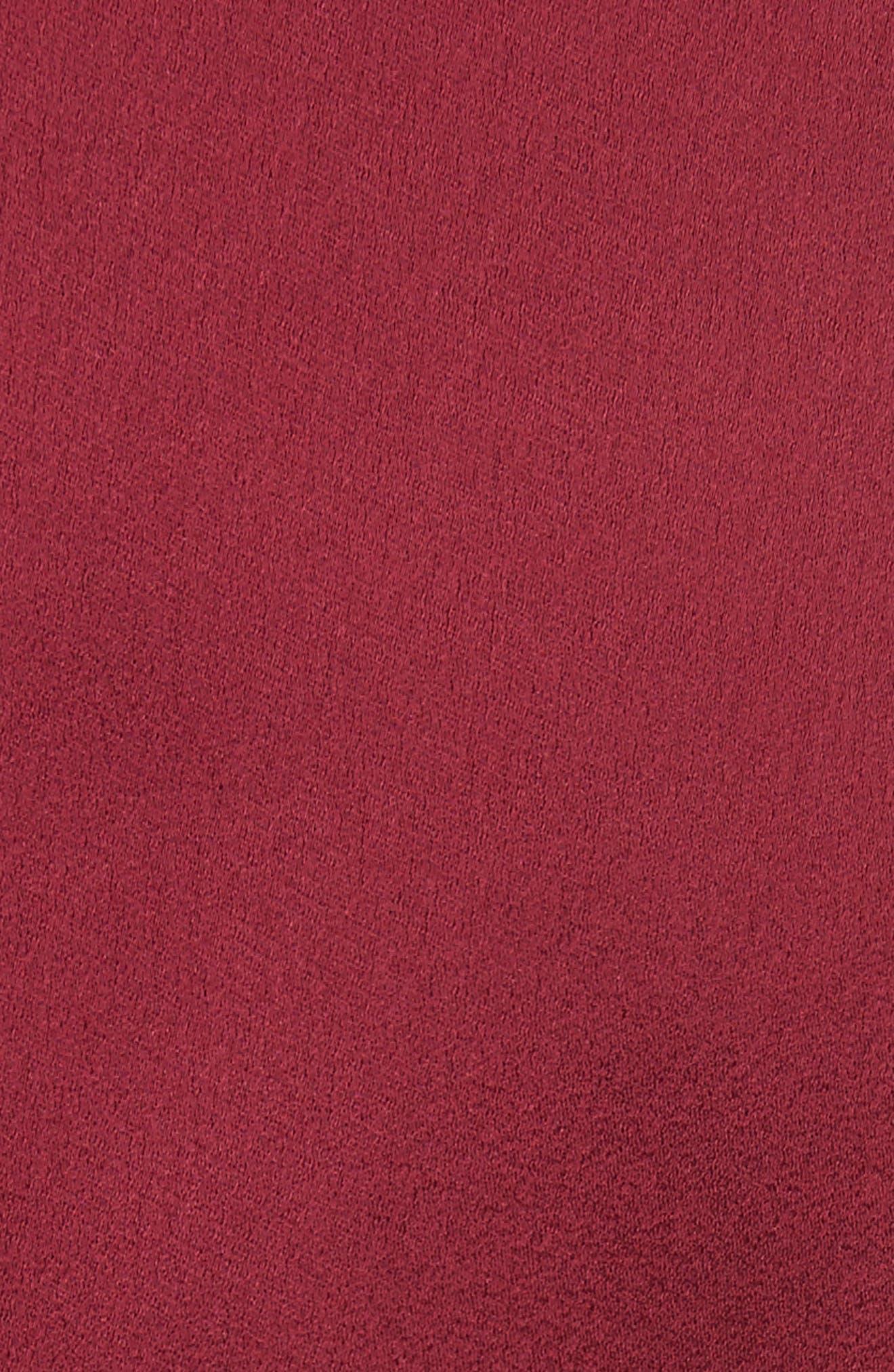 Mock Neck Fit & Flare Dress,                             Alternate thumbnail 5, color,                             Maroon