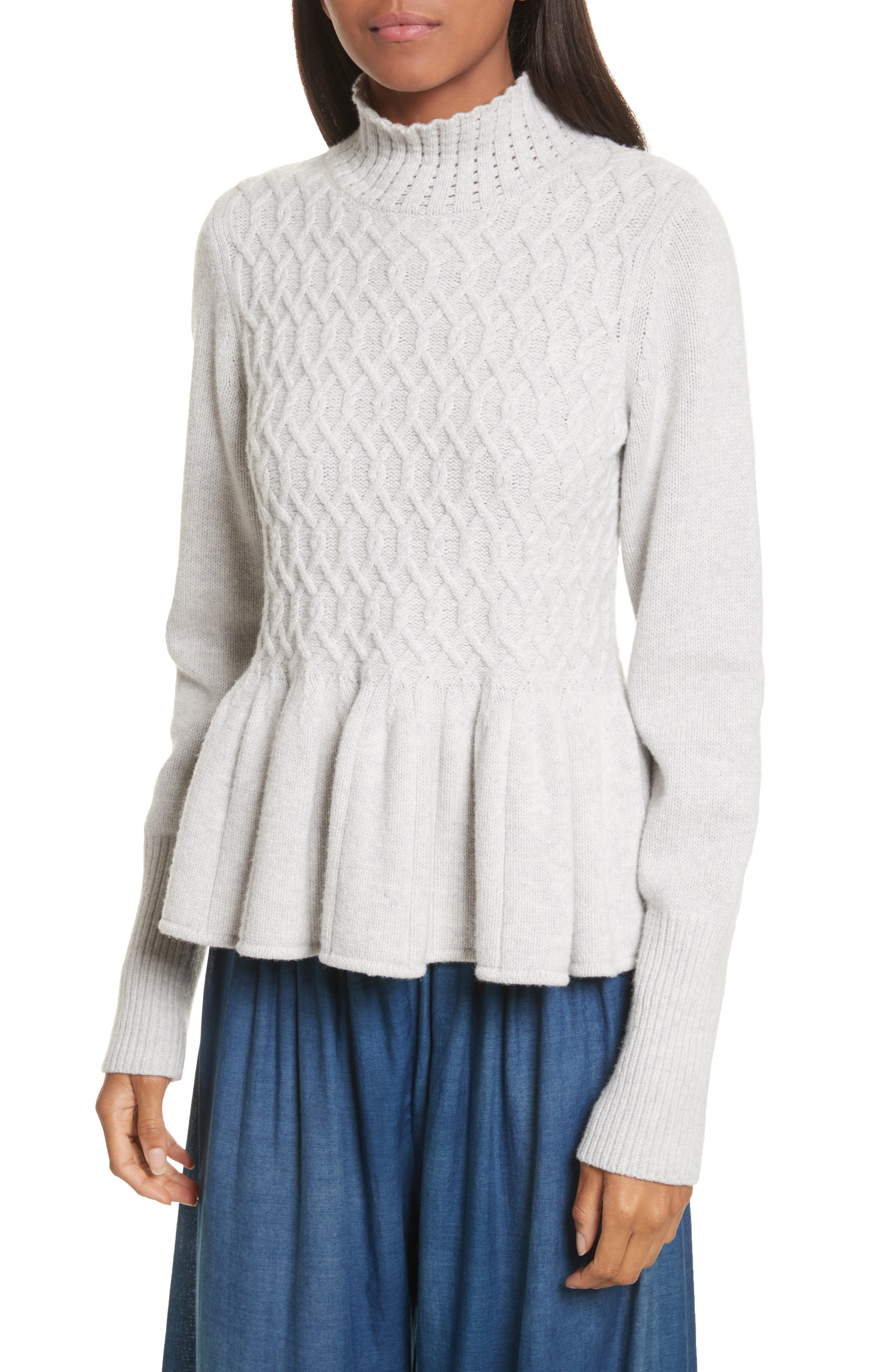 Braided Cable Mock Neck Pullover,                             Main thumbnail 1, color,                             Light Heather Grey