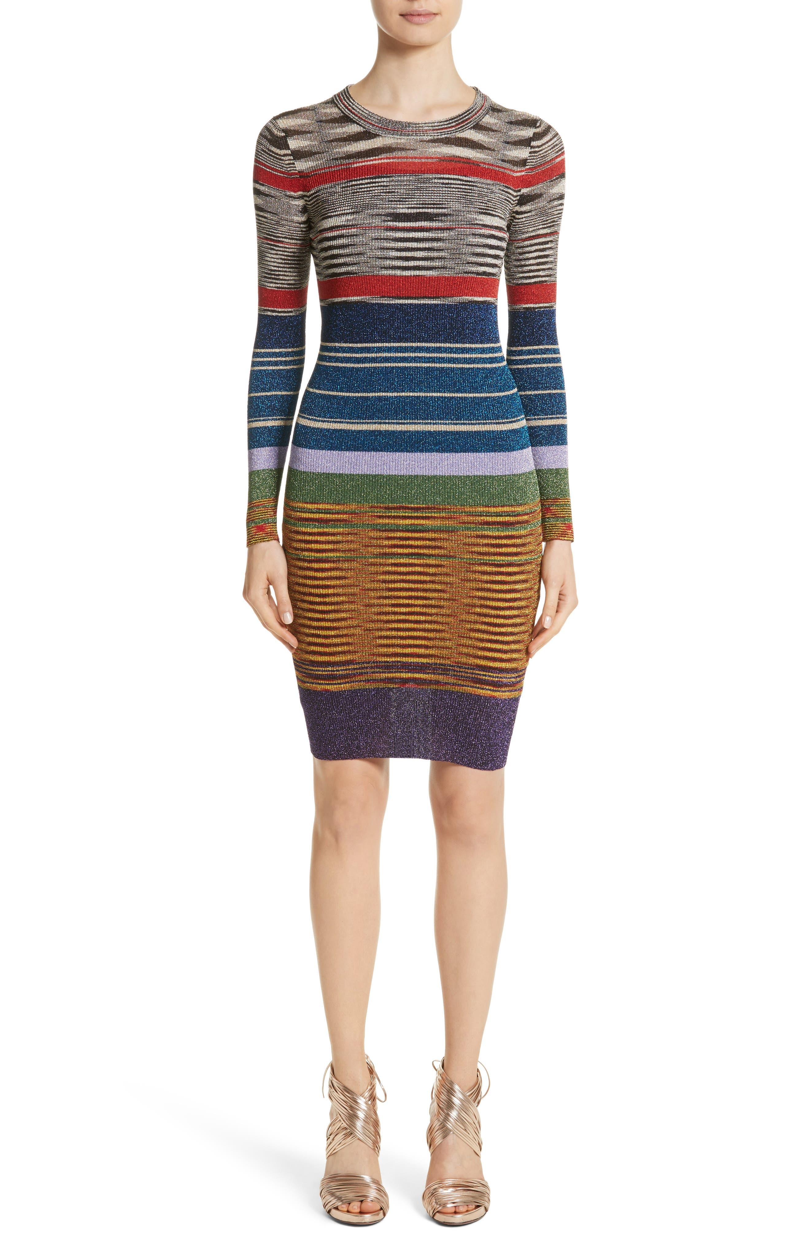Stripe Space Dye Knit Dress,                         Main,                         color, Multi