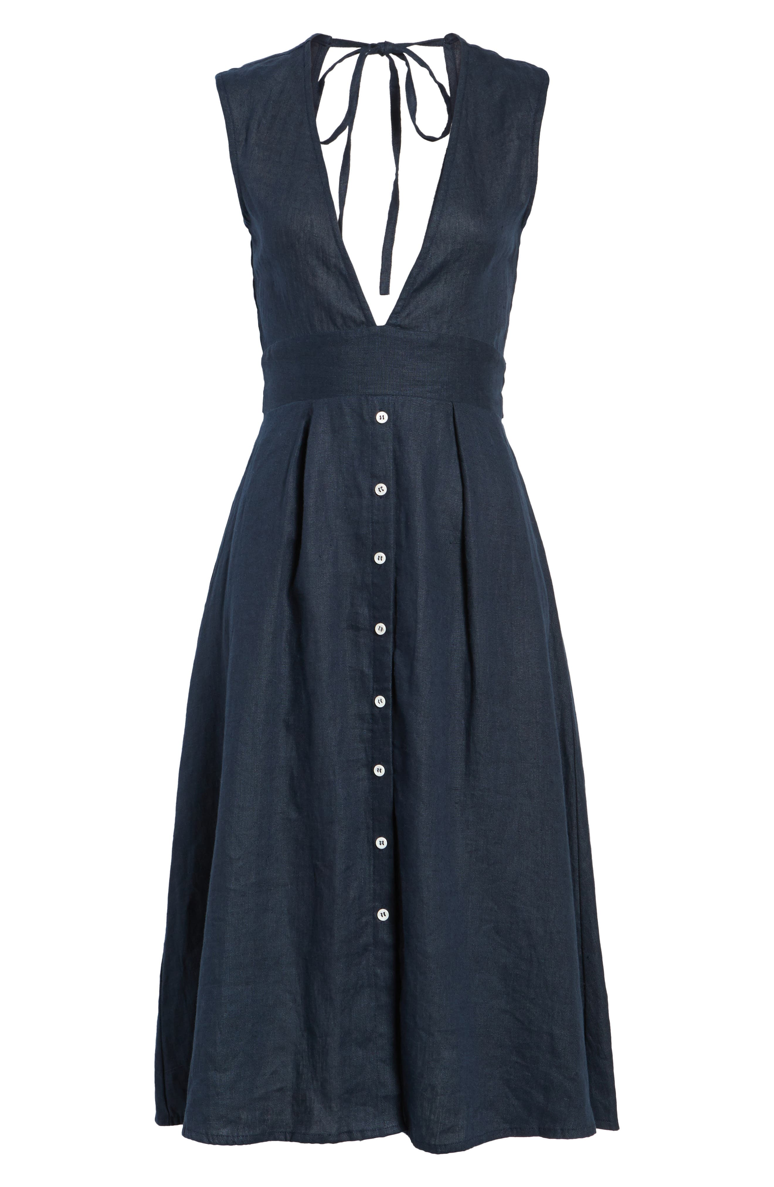 Le Roch Midi Dress,                             Alternate thumbnail 7, color,                             Plain Navy