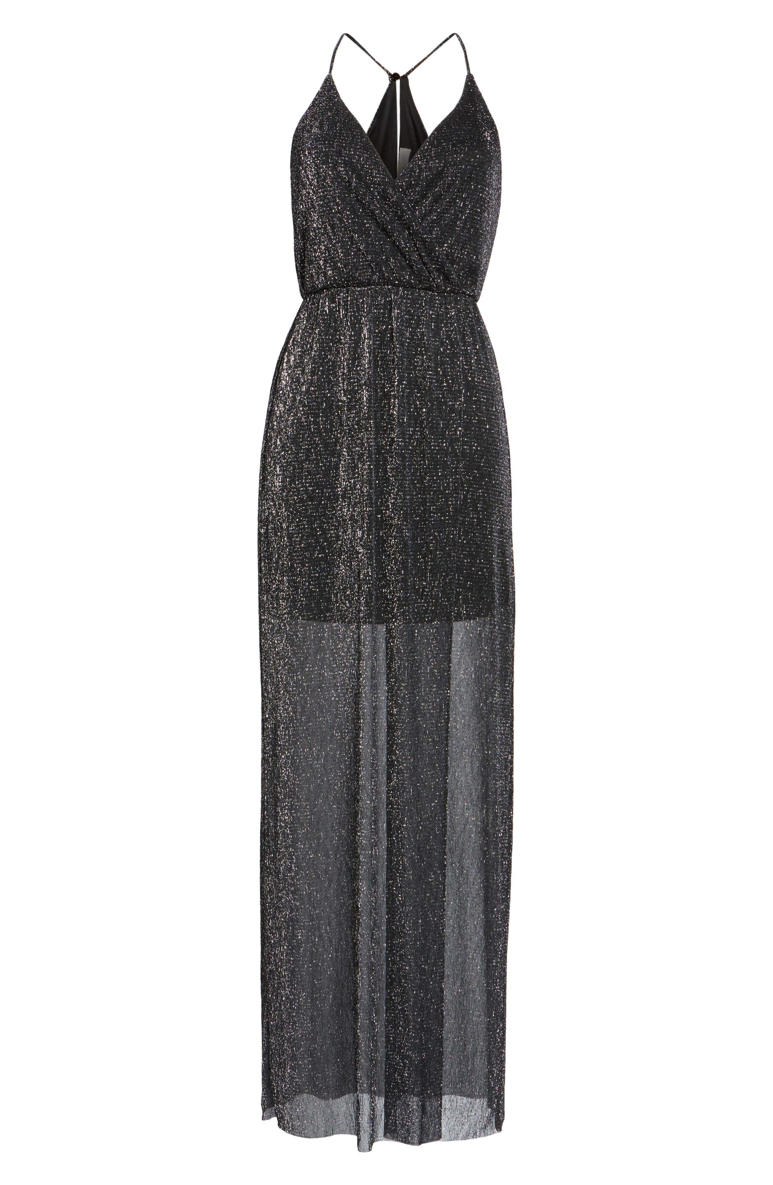 Alternate Image 6  - Metallic Surplice Maxi Dress