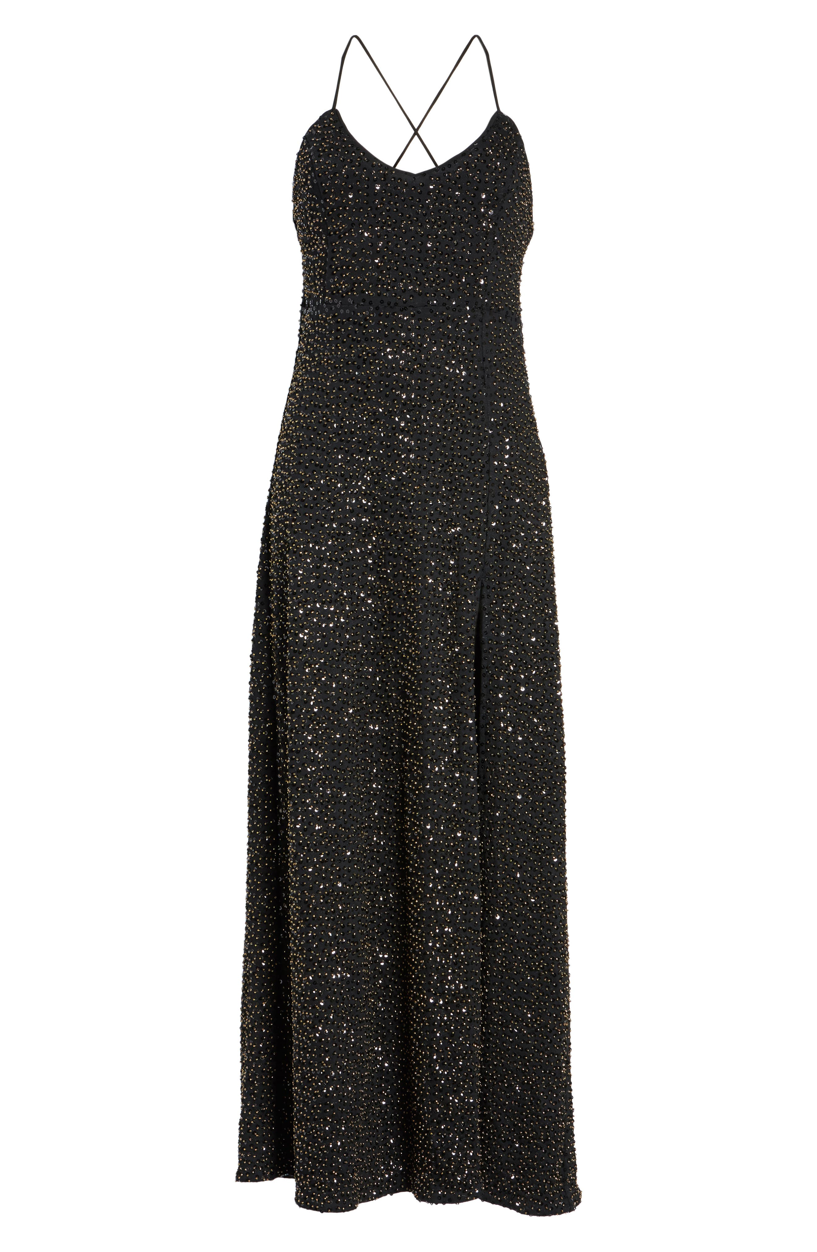 Gracen Maxi Dress,                             Alternate thumbnail 6, color,                             Black/ Brass