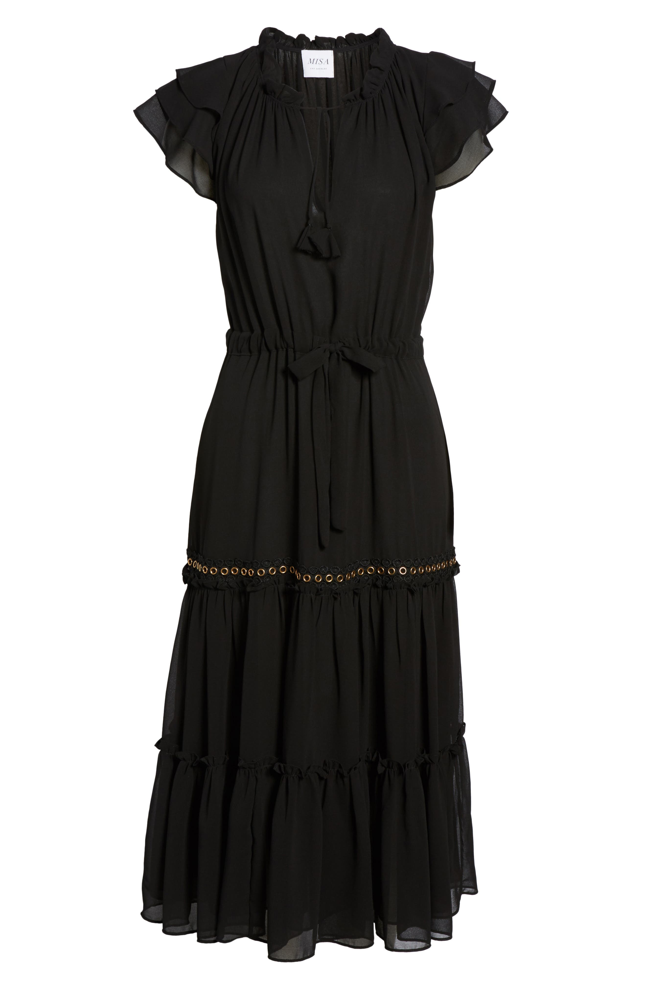 Anis Midi Dress,                             Alternate thumbnail 6, color,                             Ink Black