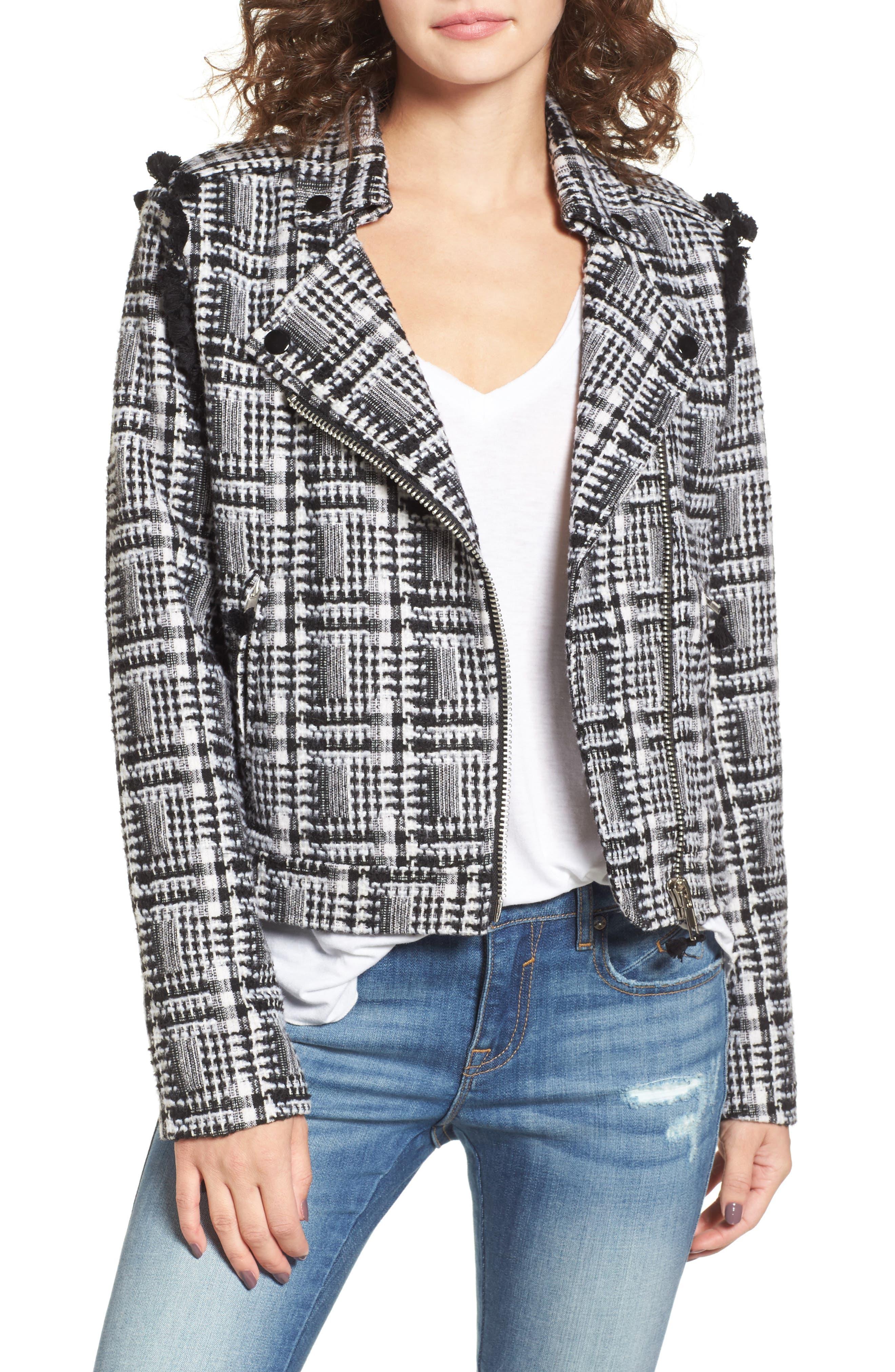 Tweed Moto Jacket,                         Main,                         color, Black Plaid