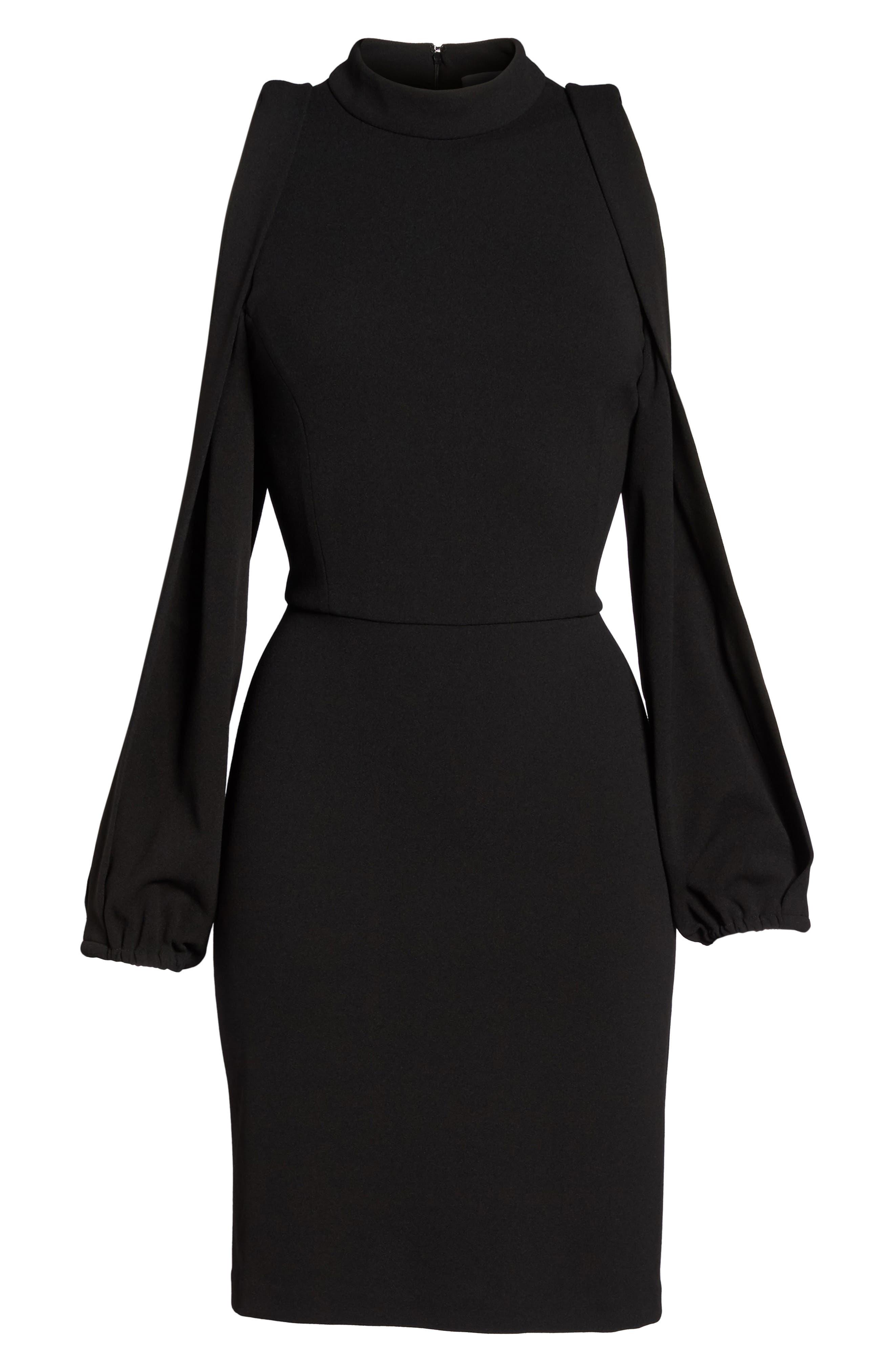 Split Sleeve Shift Dress,                             Alternate thumbnail 6, color,                             Black