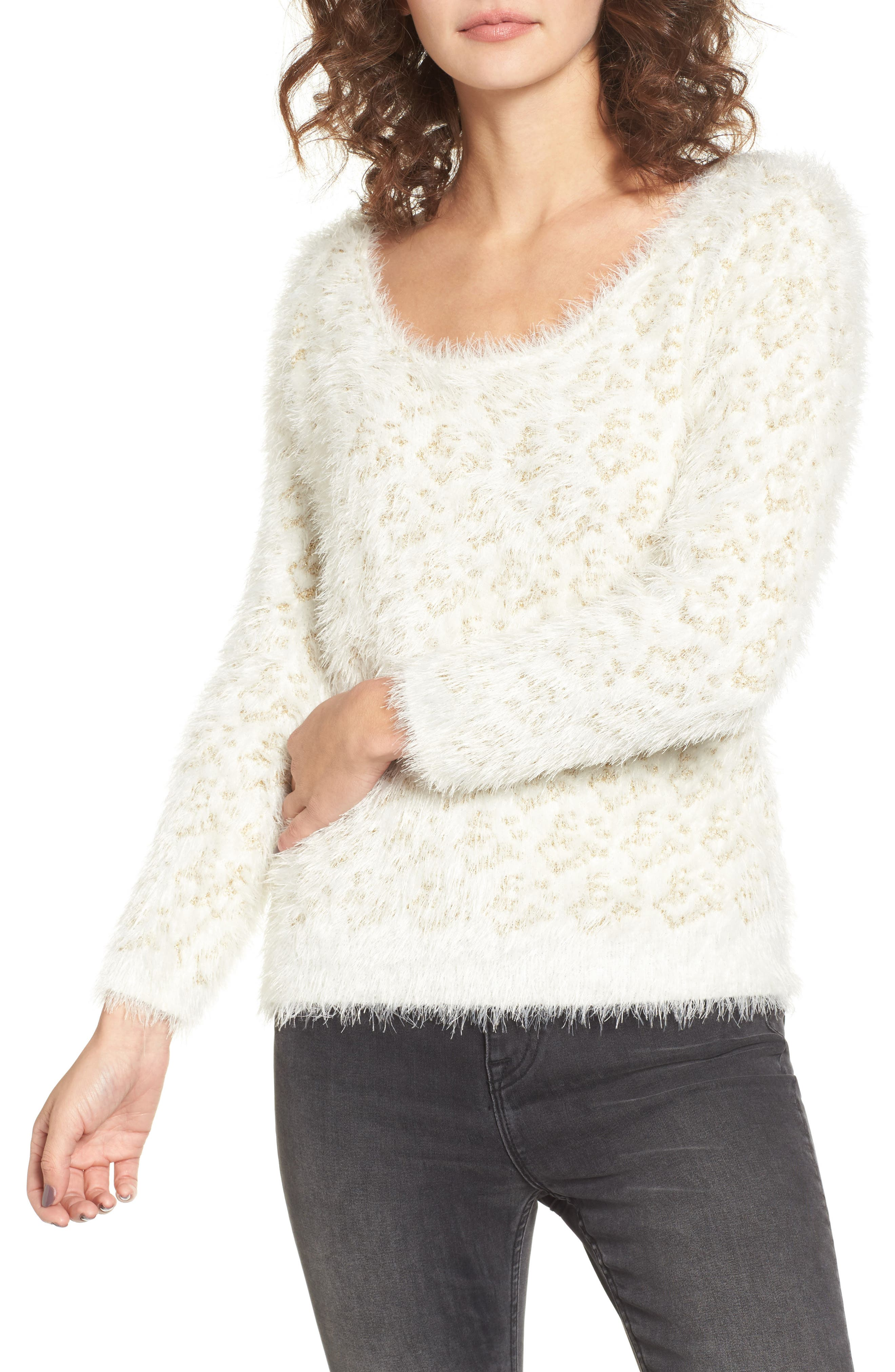 Cassidy Fuzzy Eyelash Sweater,                         Main,                         color, Gold