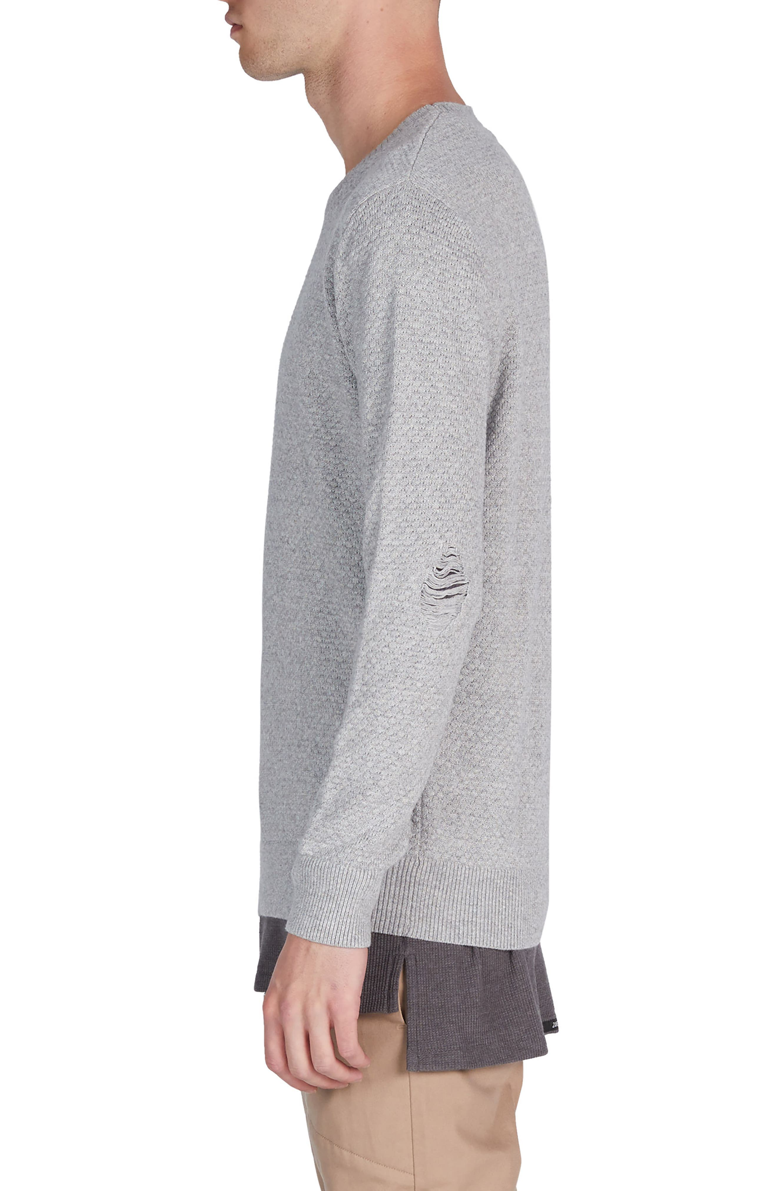 Grip Crewneck Sweater,                             Alternate thumbnail 3, color,                             Grey Marle