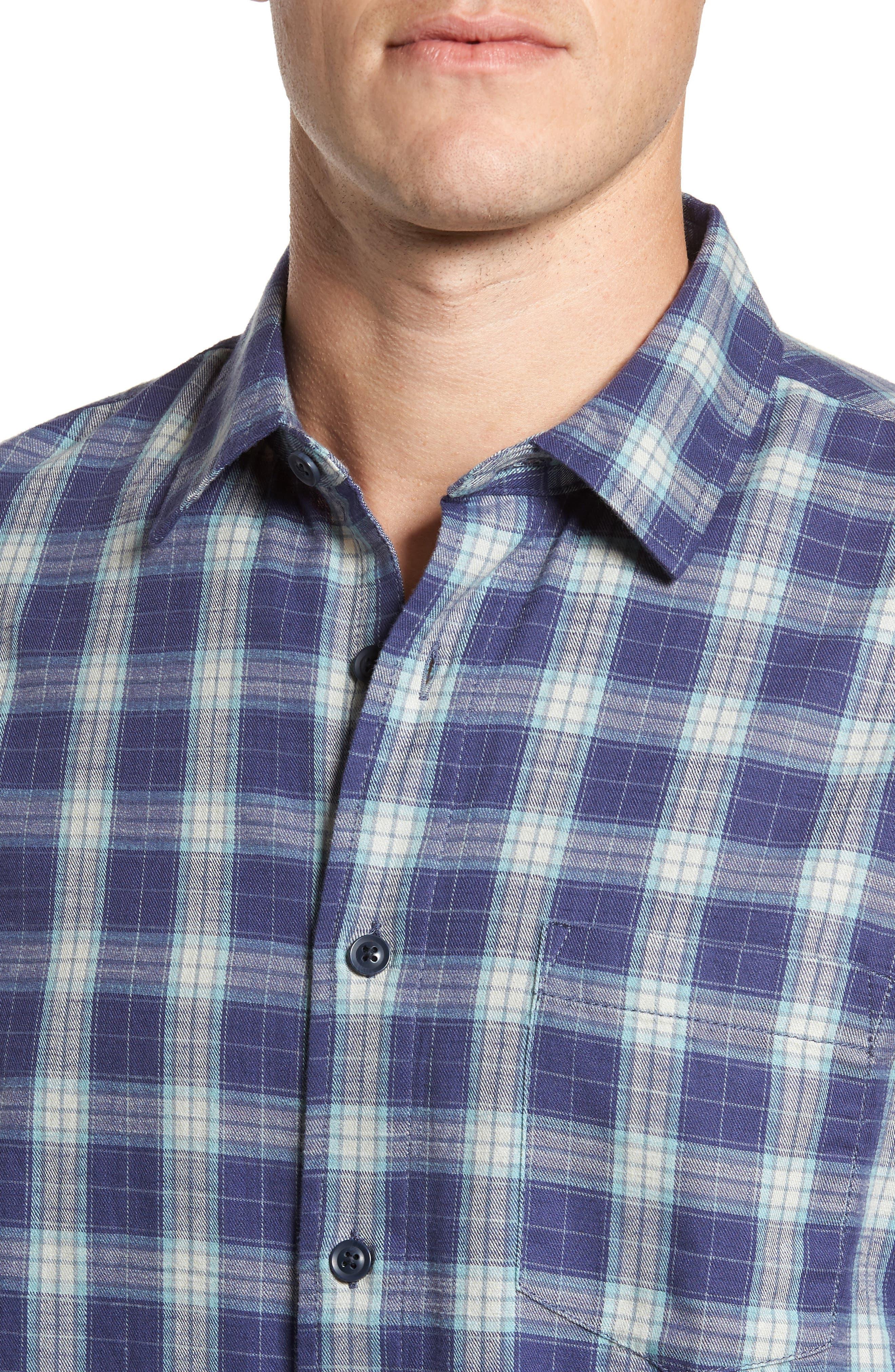 Walden Slim Fit Plaid Slub Twill Sport Shirt,                             Alternate thumbnail 4, color,                             Seafoam