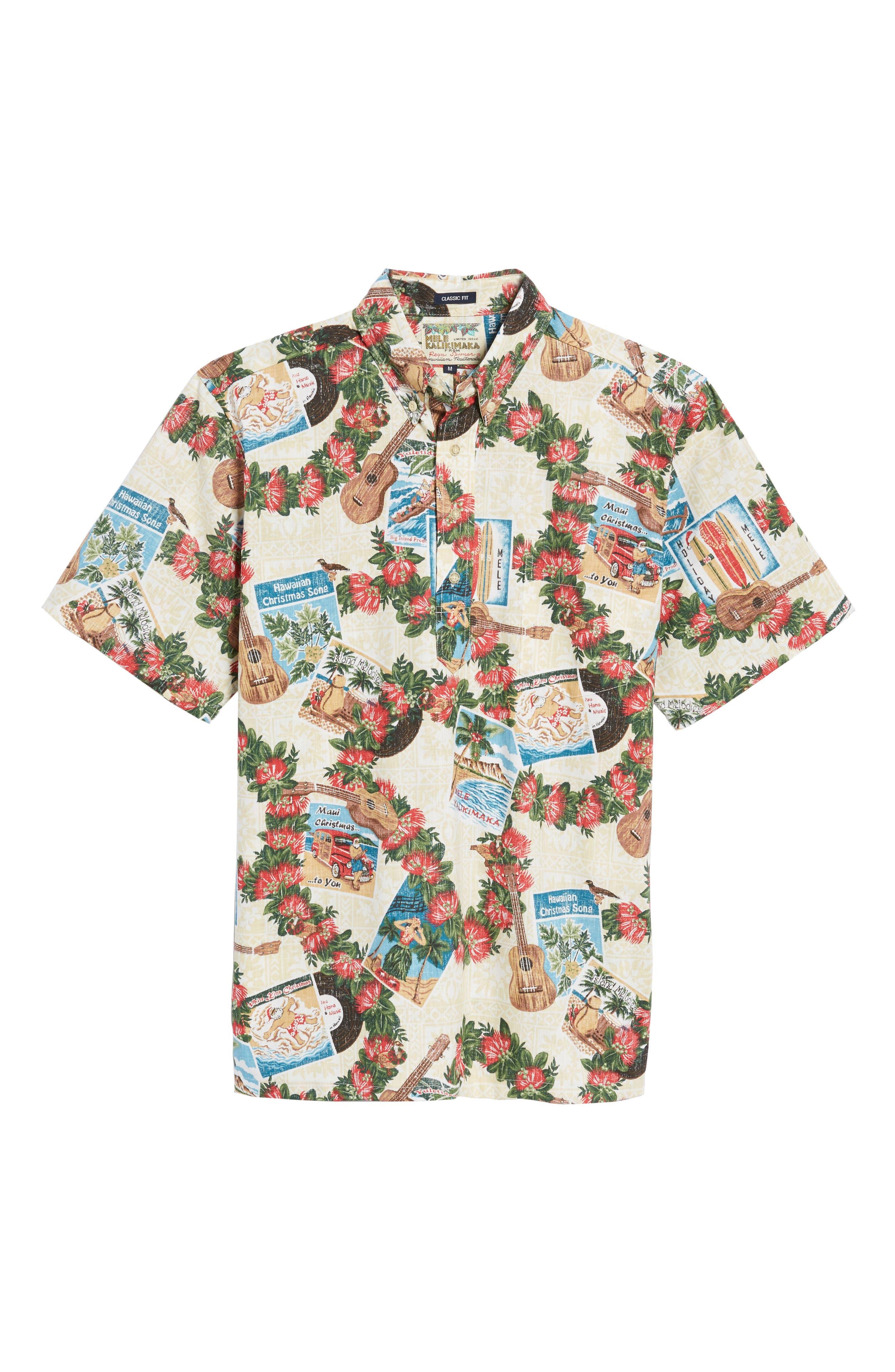 Hawaiian Christmas 2017 Sport Shirt,                             Alternate thumbnail 6, color,                             Natural