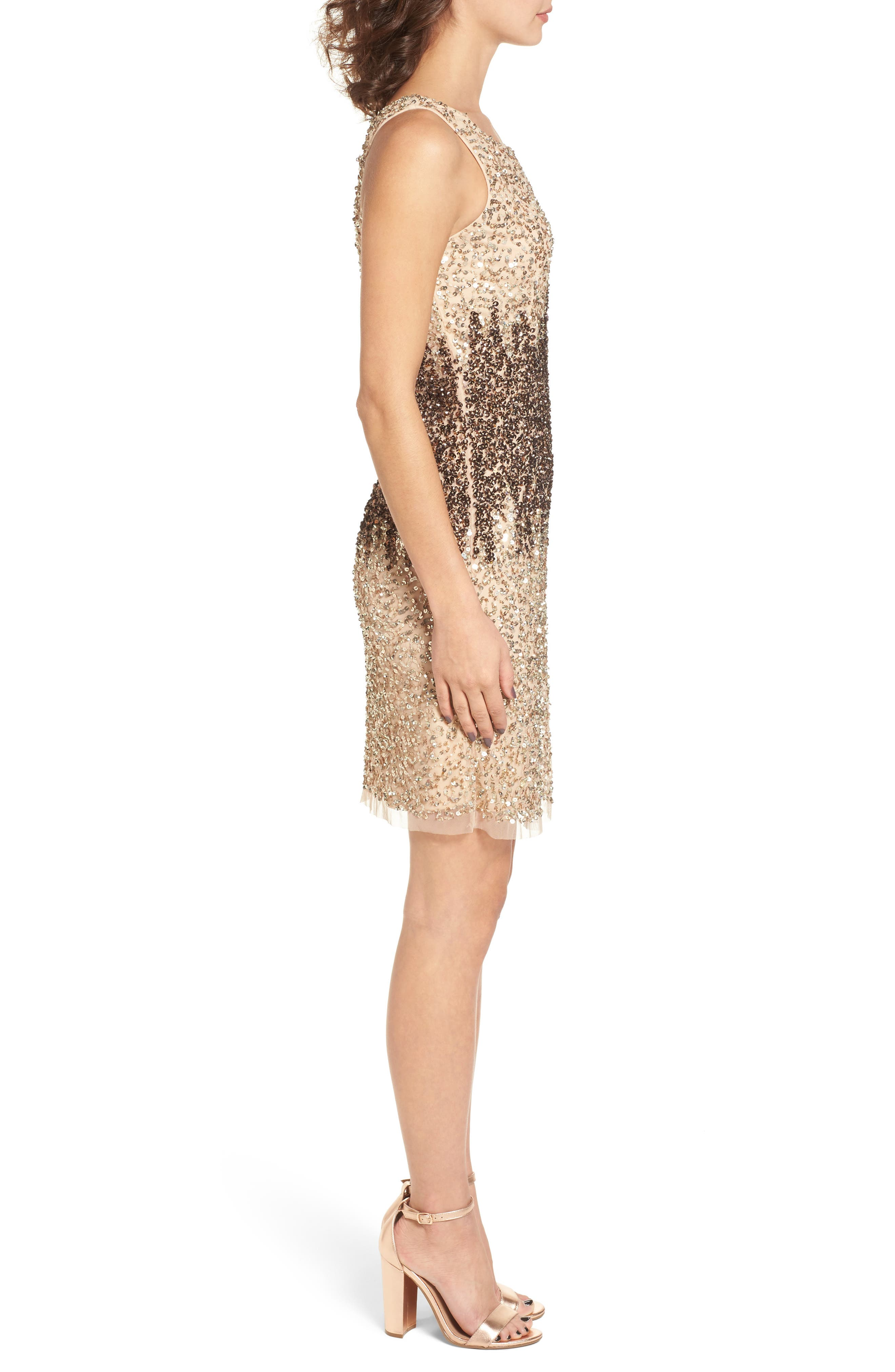 Sequins and Champagne Dress,                             Alternate thumbnail 3, color,                             Beige