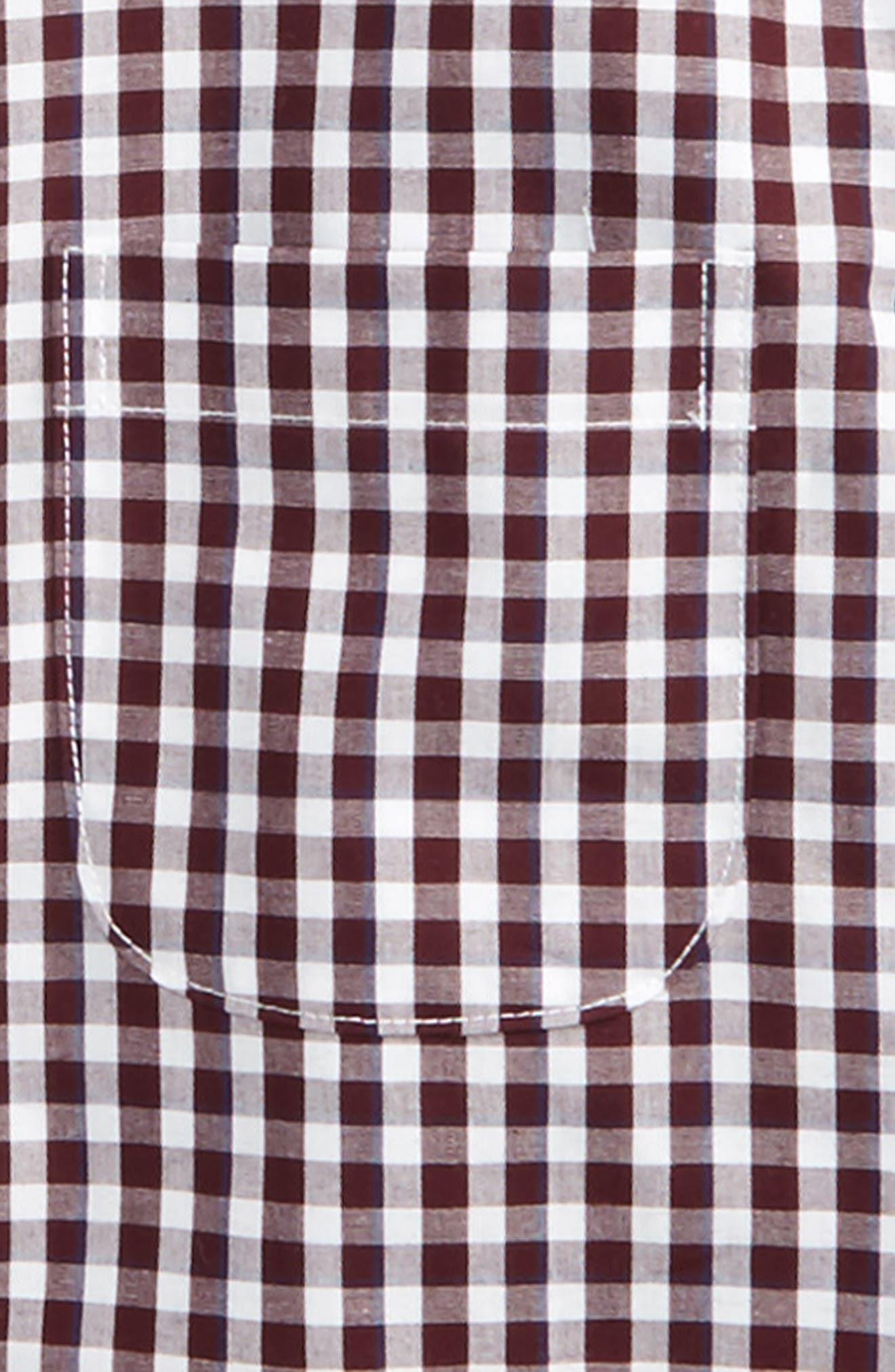 Check Dress Shirt,                             Alternate thumbnail 2, color,                             Burgundy Stem-White Plaid