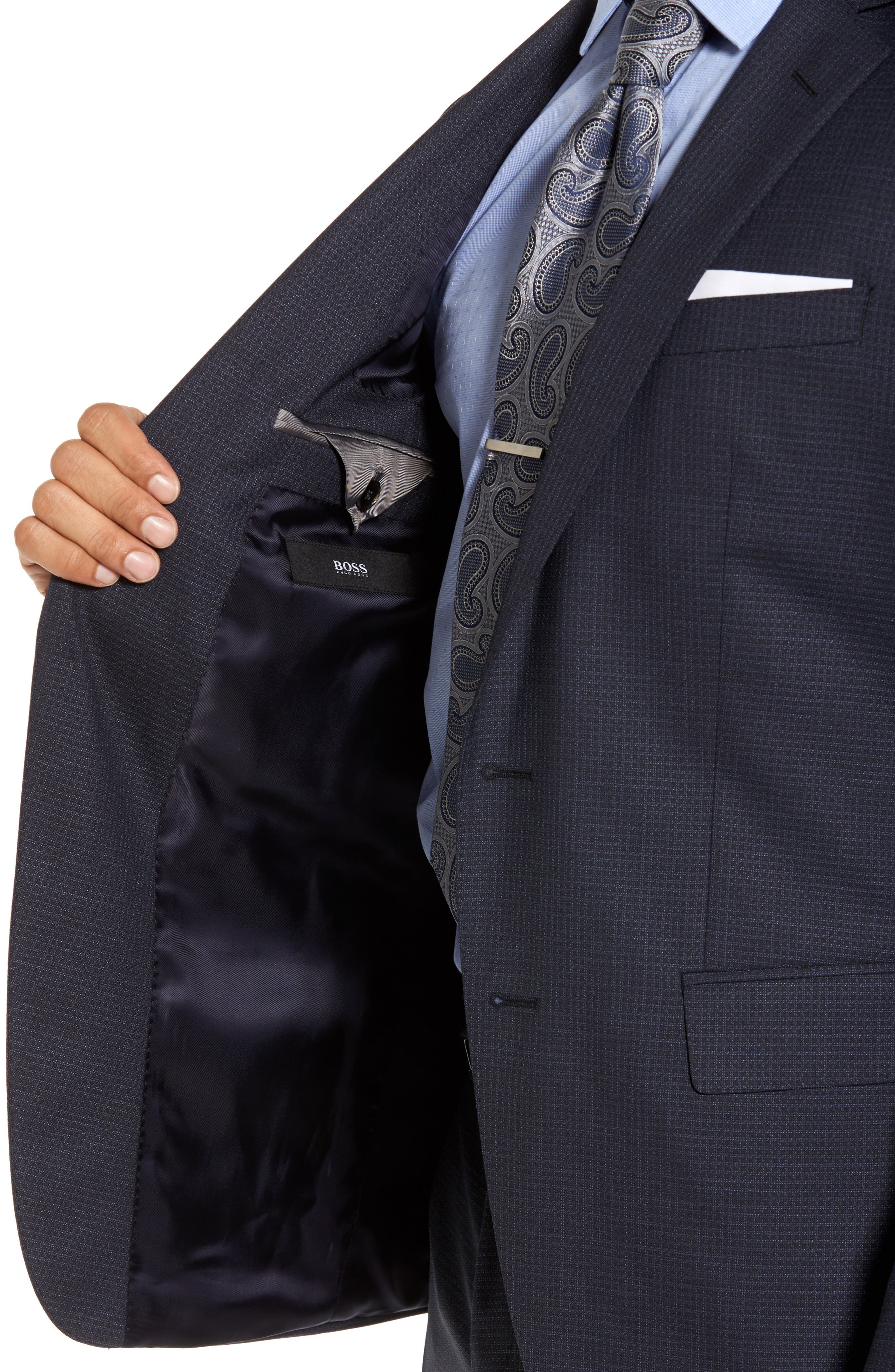 Alternate Image 4  - BOSS Huge/Genius Trim Fit Check Wool Suit