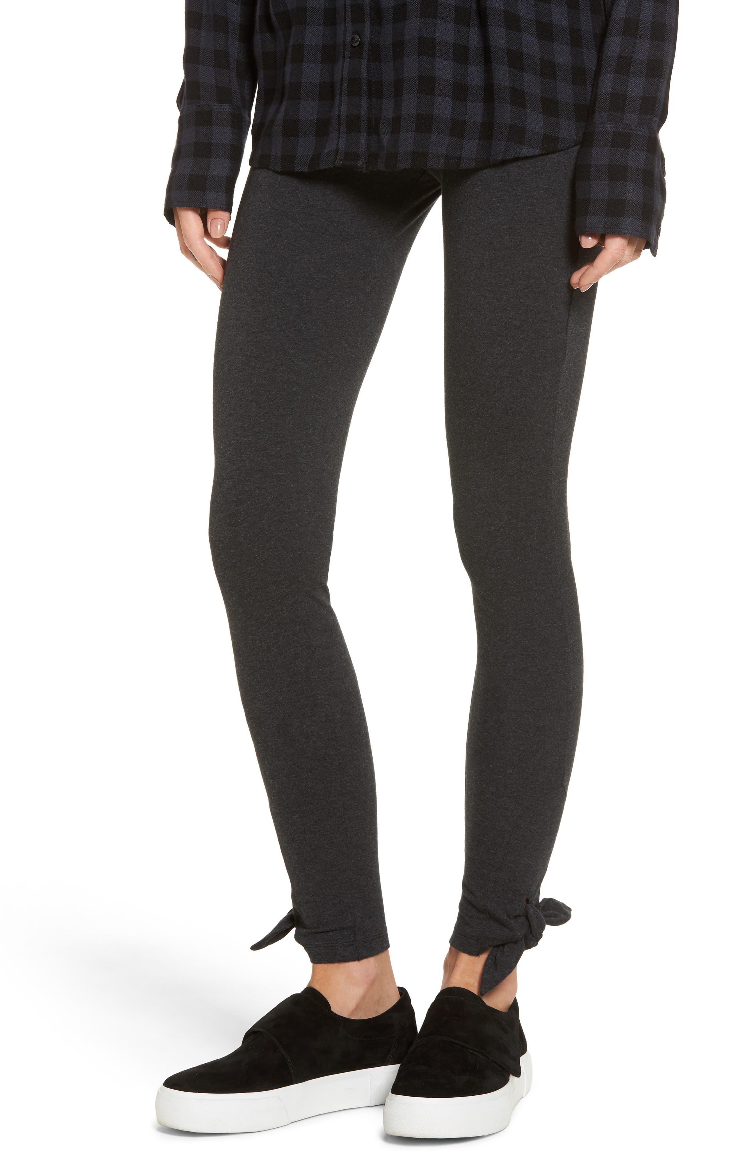 Bow Hem Leggings,                         Main,                         color, Charcoal