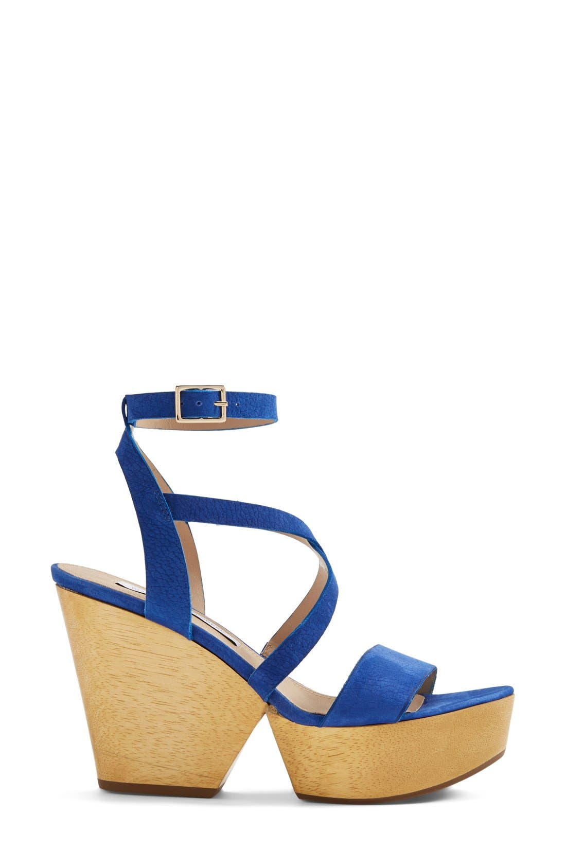'Lamille' Leather Platform Wedge Sandal,                             Alternate thumbnail 4, color,                             Blue Riviera